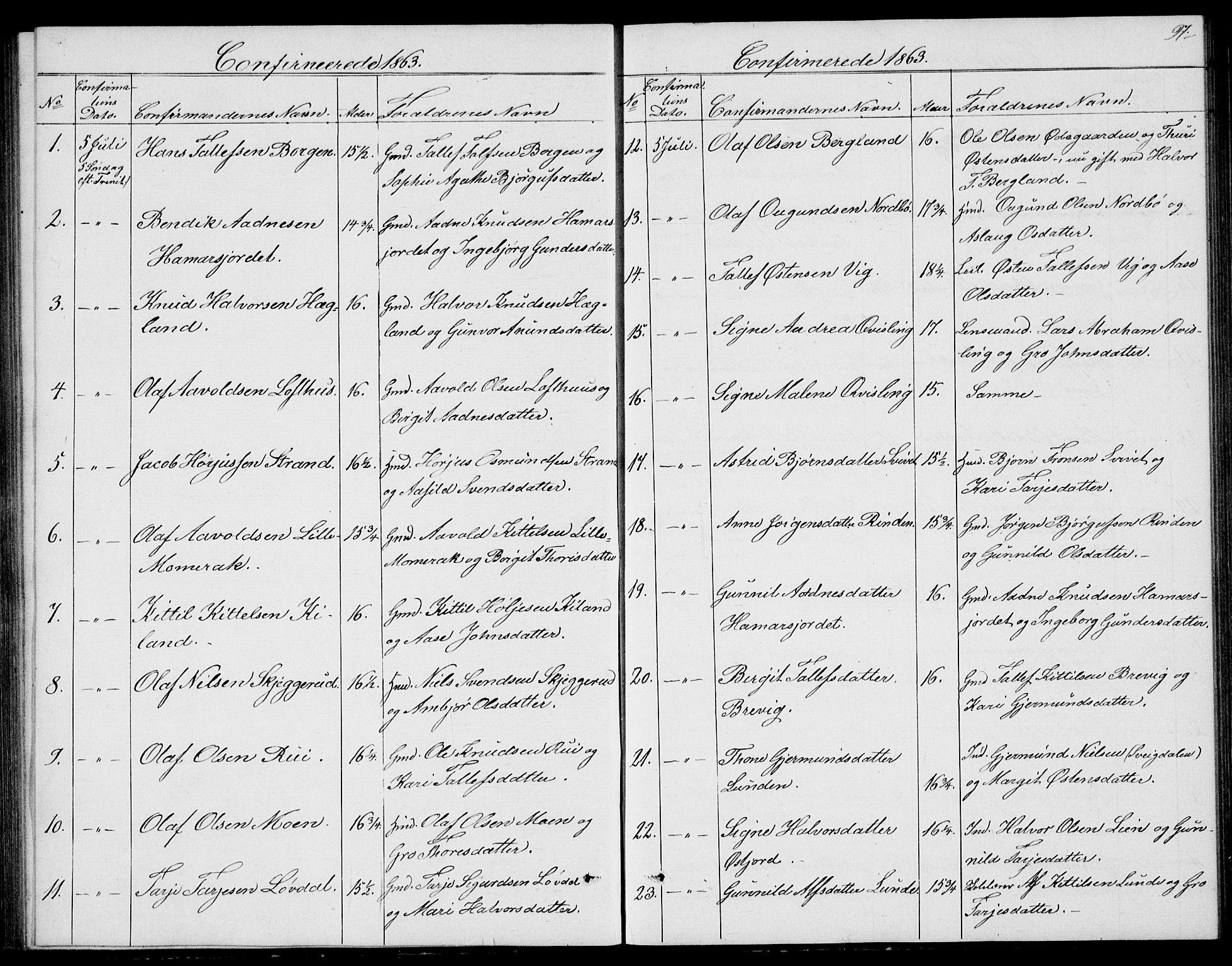 SAKO, Fyresdal kirkebøker, G/Ga/L0004: Klokkerbok nr. I 4, 1864-1892, s. 97