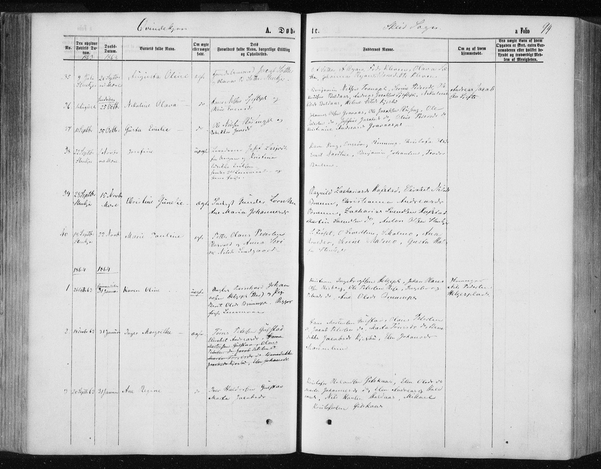 SAT, Ministerialprotokoller, klokkerbøker og fødselsregistre - Nord-Trøndelag, 735/L0345: Ministerialbok nr. 735A08 /2, 1863-1872, s. 94