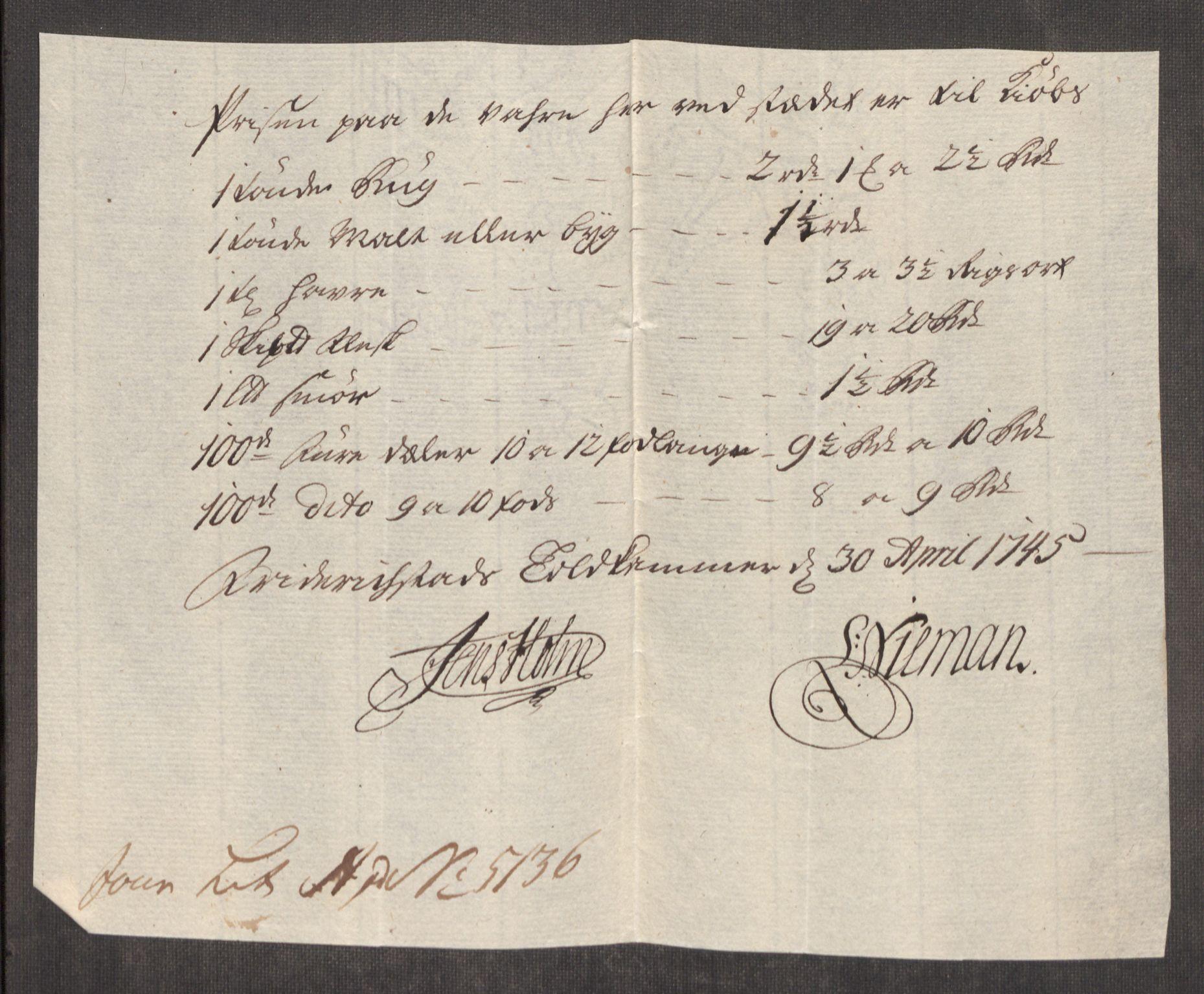 RA, Rentekammeret inntil 1814, Realistisk ordnet avdeling, Oe/L0003: [Ø1]: Priskuranter, 1745-1748, s. 19