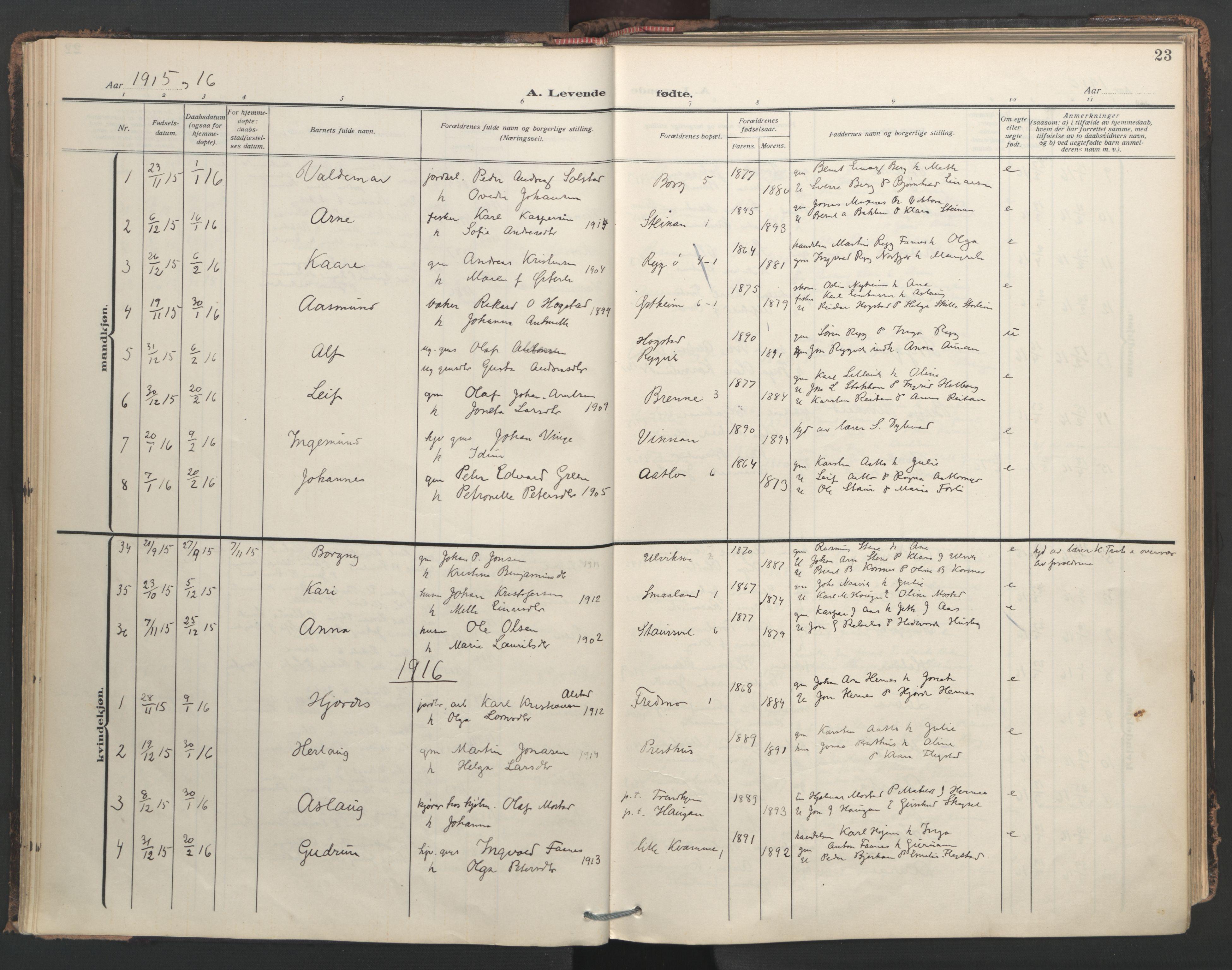 SAT, Ministerialprotokoller, klokkerbøker og fødselsregistre - Nord-Trøndelag, 713/L0123: Ministerialbok nr. 713A12, 1911-1925, s. 23