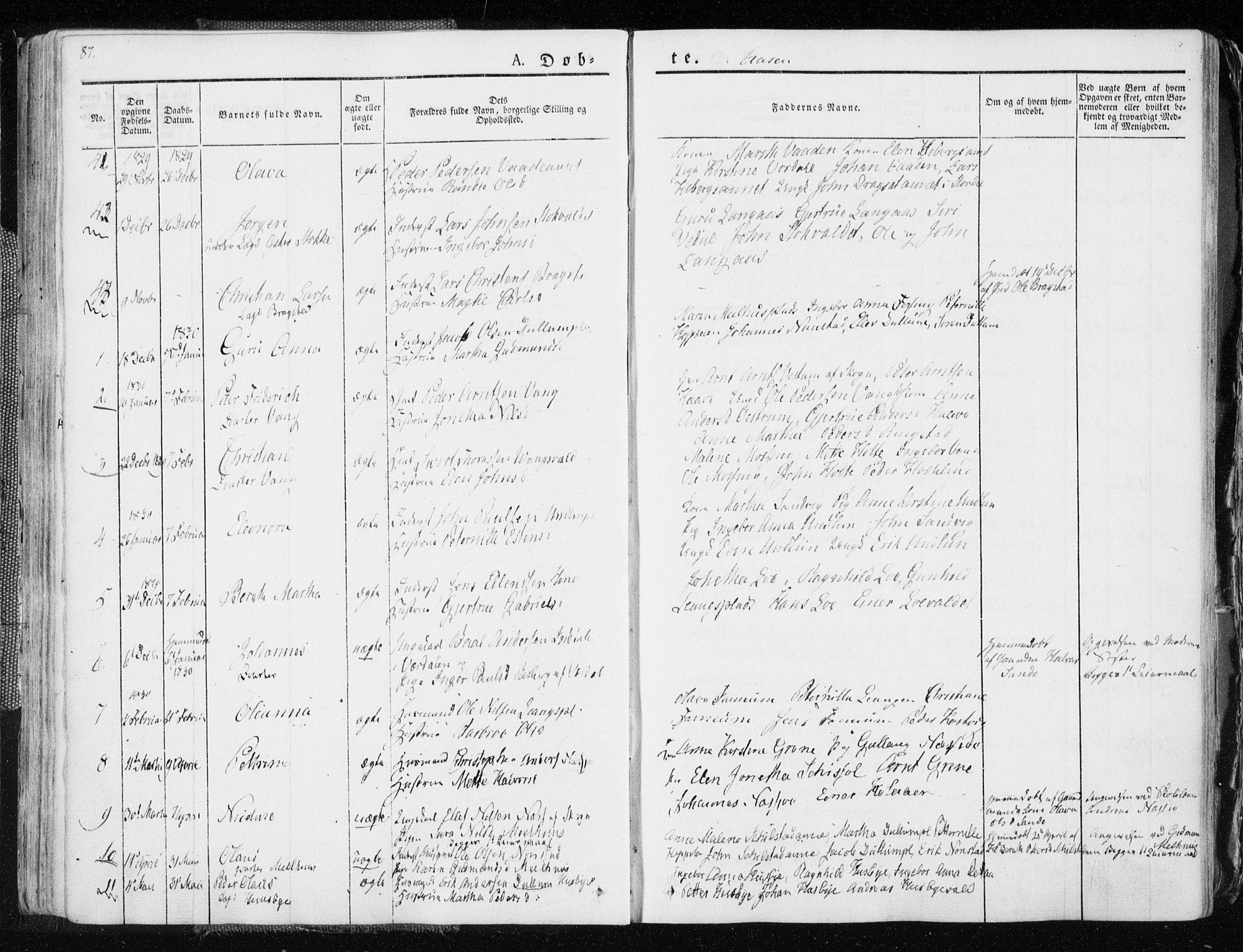 SAT, Ministerialprotokoller, klokkerbøker og fødselsregistre - Nord-Trøndelag, 713/L0114: Ministerialbok nr. 713A05, 1827-1839, s. 87