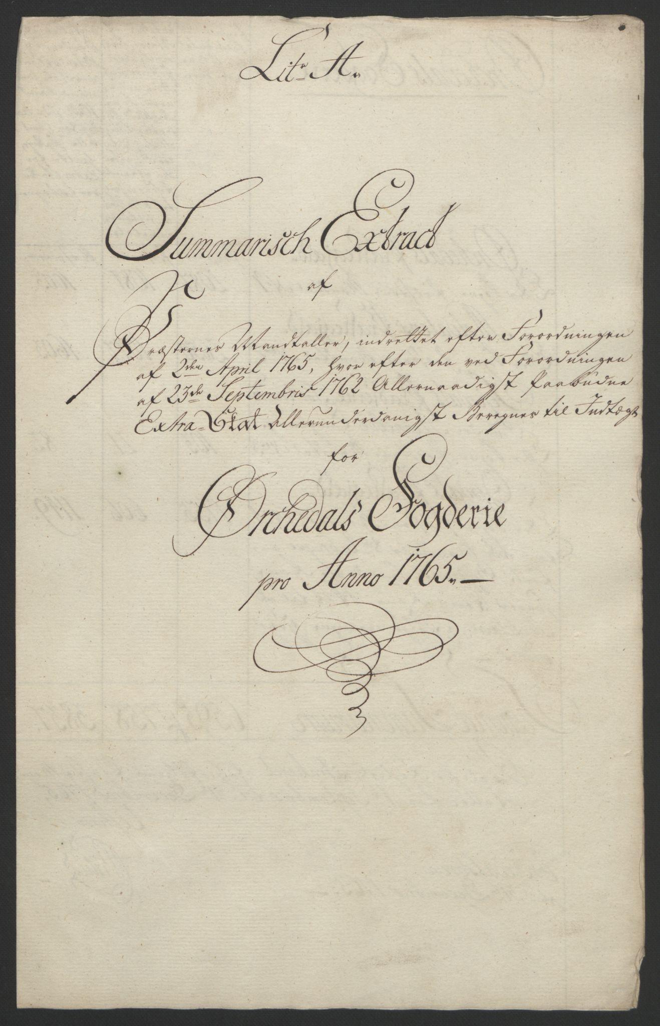 RA, Rentekammeret inntil 1814, Reviderte regnskaper, Fogderegnskap, R60/L4094: Ekstraskatten Orkdal og Gauldal, 1762-1765, s. 253