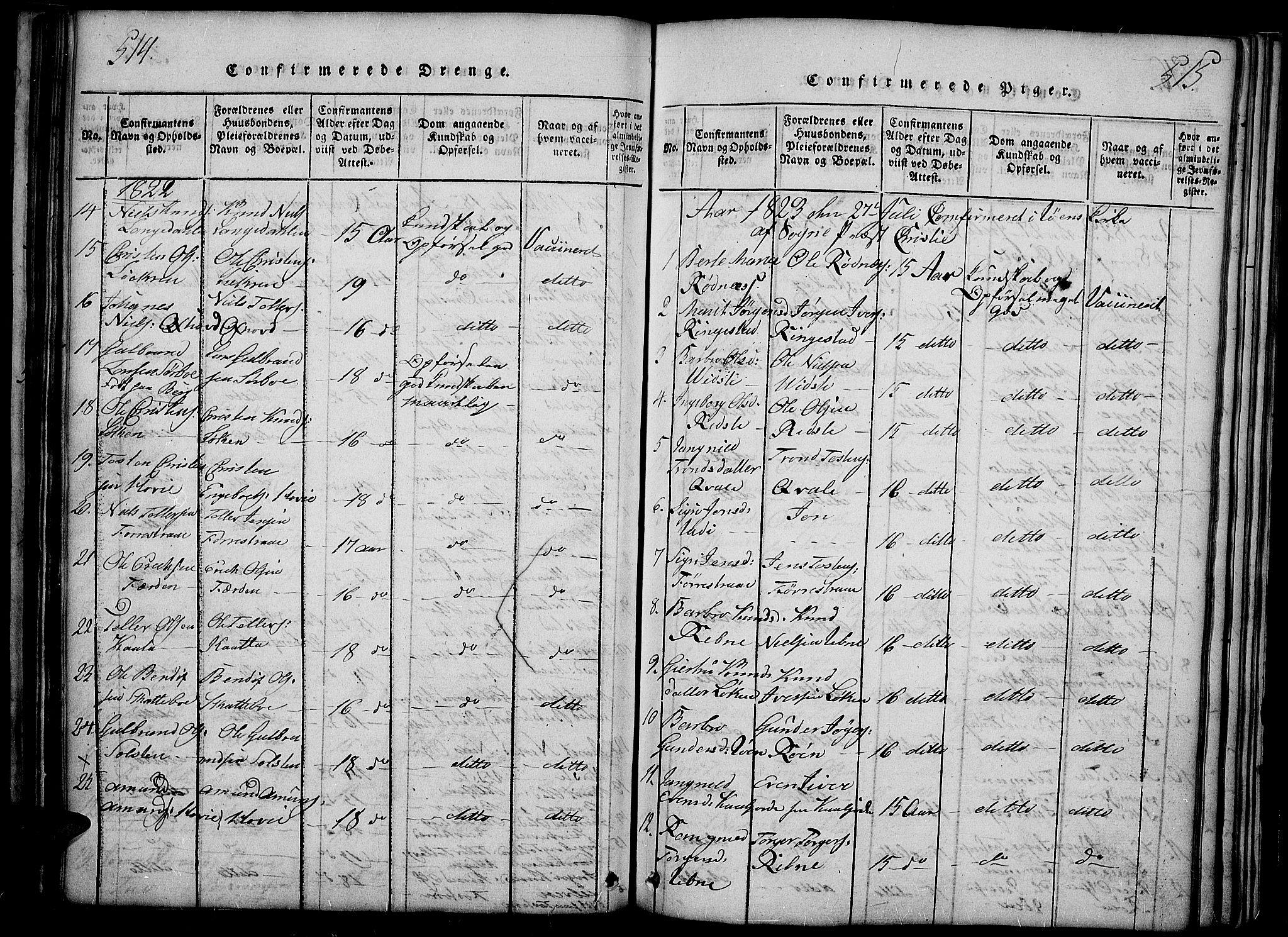 SAH, Slidre prestekontor, Ministerialbok nr. 2, 1814-1830, s. 514-515