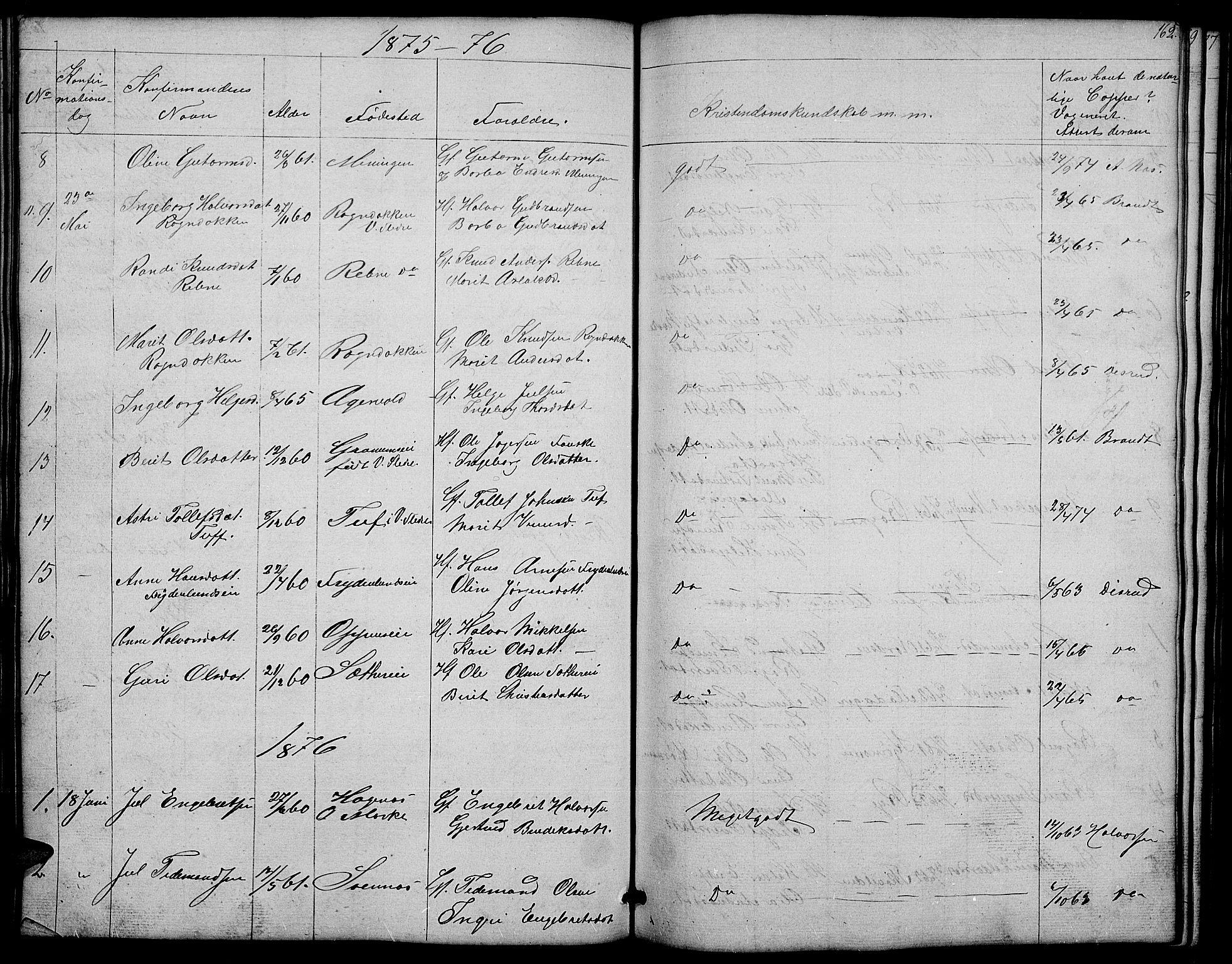 SAH, Nord-Aurdal prestekontor, Klokkerbok nr. 4, 1842-1882, s. 162