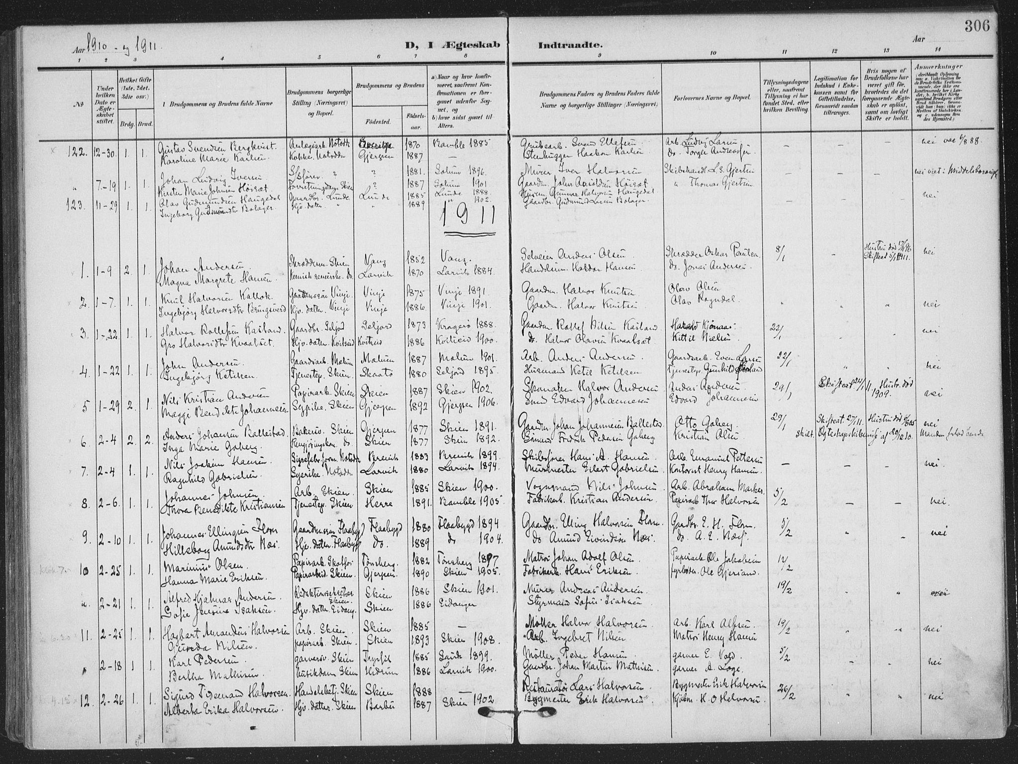 SAKO, Skien kirkebøker, F/Fa/L0012: Ministerialbok nr. 12, 1908-1914, s. 306