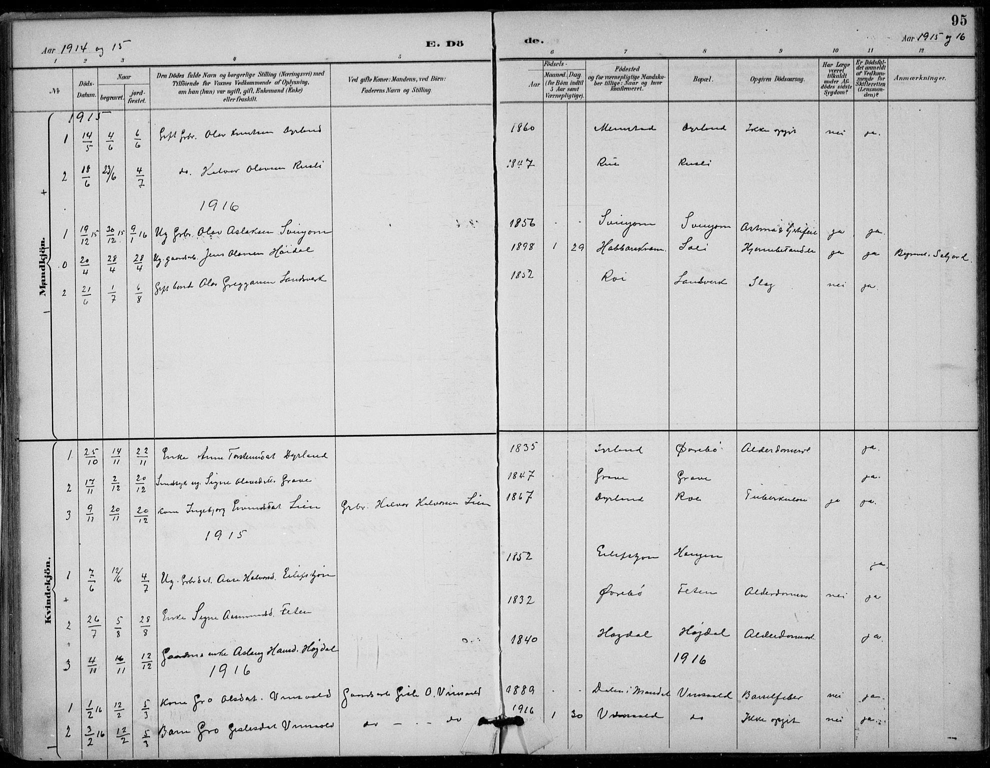 SAKO, Seljord kirkebøker, F/Fc/L0002: Ministerialbok nr. III 2, 1887-1920, s. 95