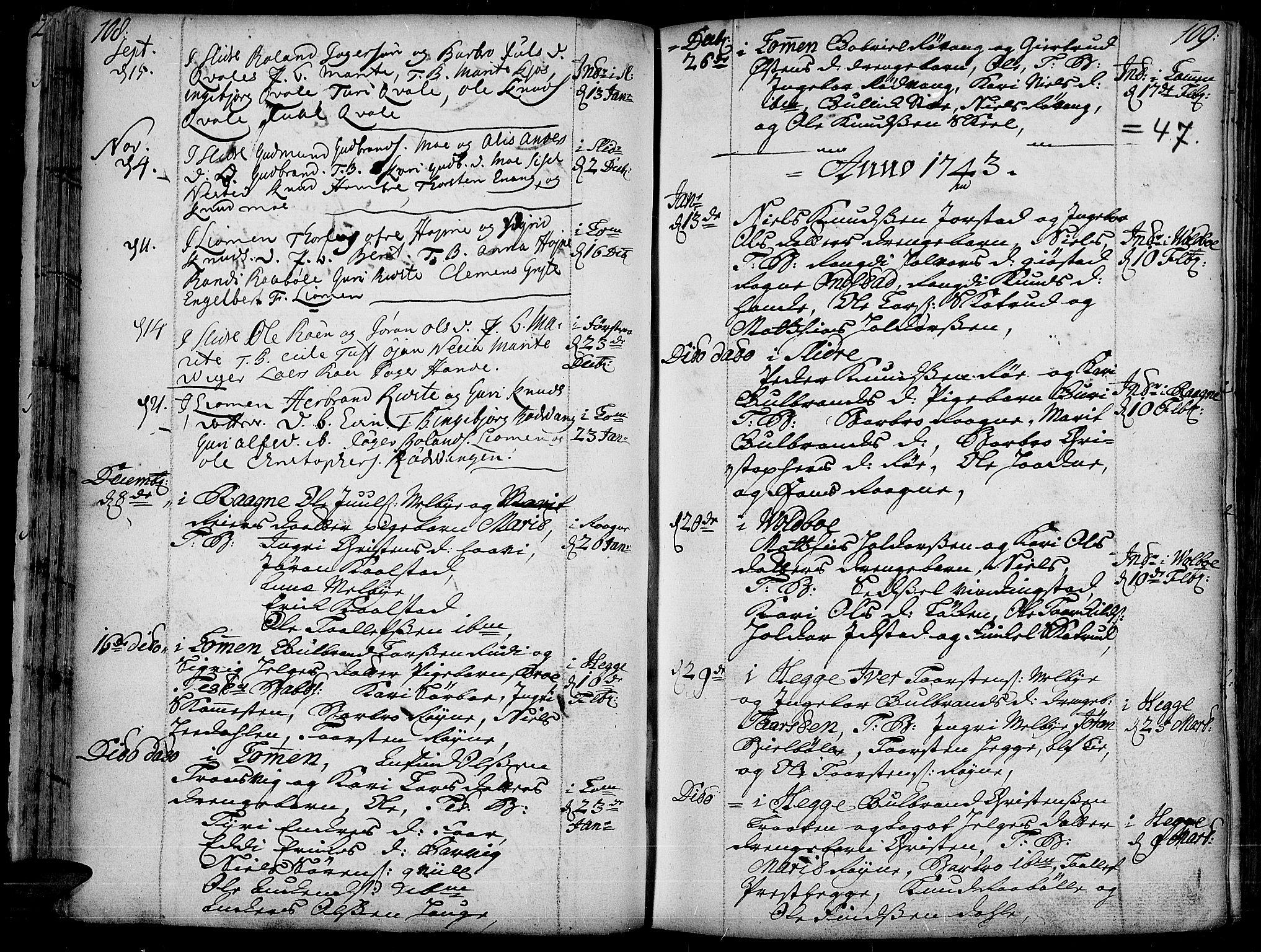 SAH, Slidre prestekontor, Ministerialbok nr. 1, 1724-1814, s. 108-109