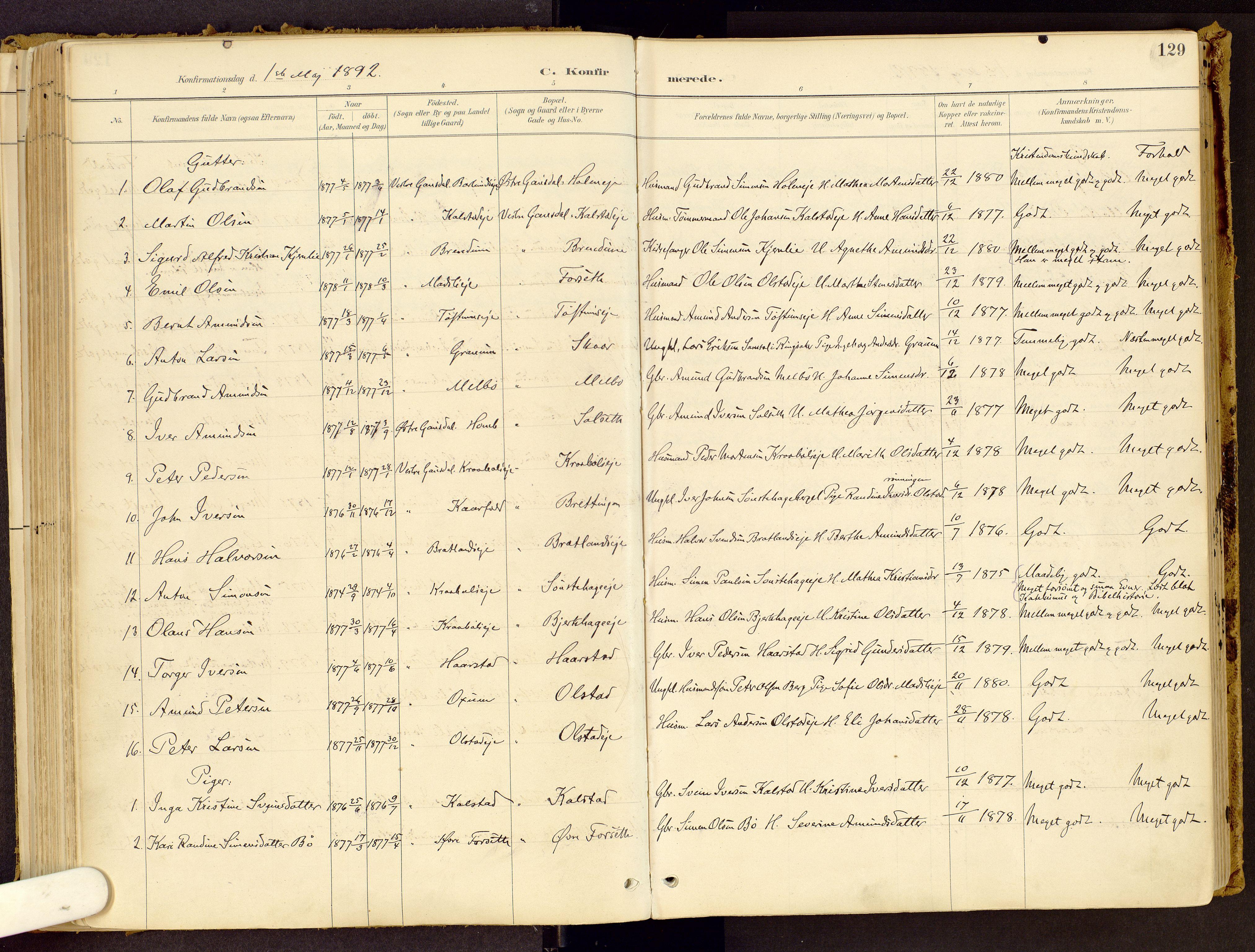 SAH, Vestre Gausdal prestekontor, Ministerialbok nr. 1, 1887-1914, s. 129