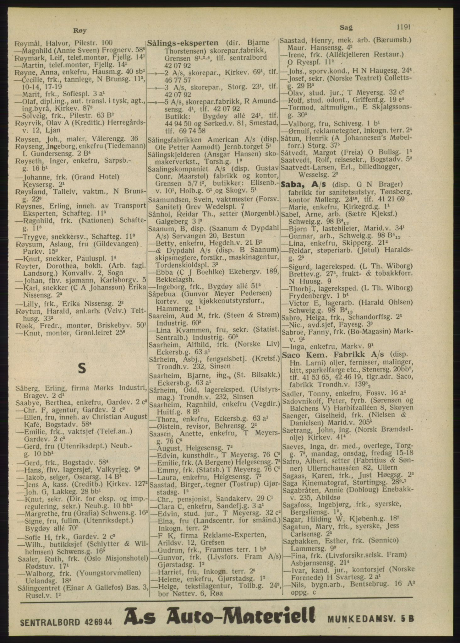RA, Oslo adressebok (publikasjon)*, 1948, s. 1191