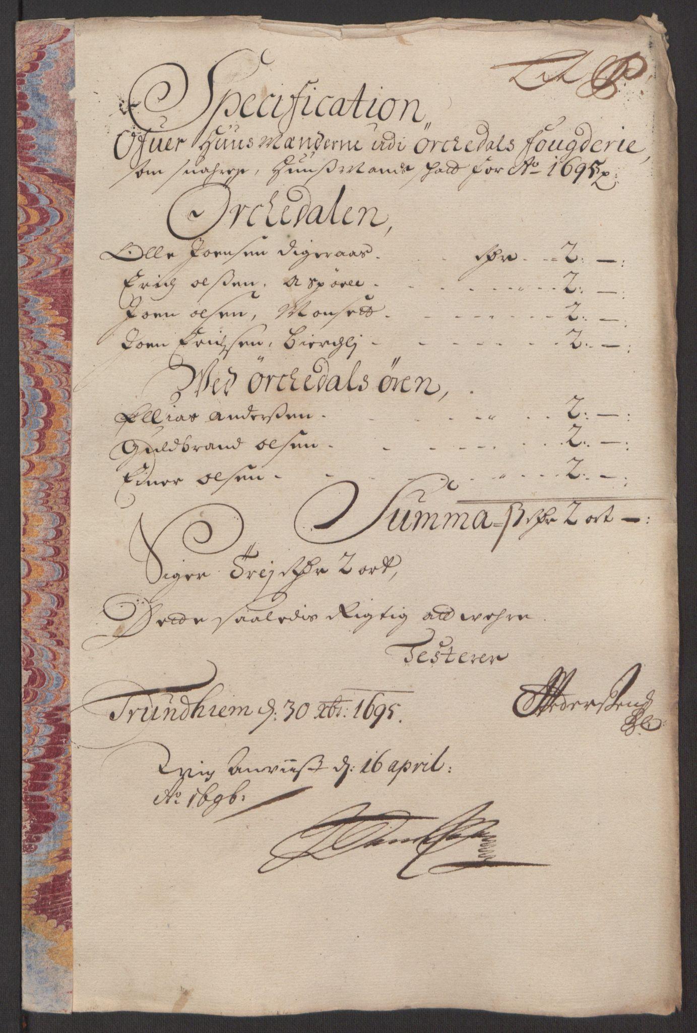 RA, Rentekammeret inntil 1814, Reviderte regnskaper, Fogderegnskap, R60/L3945: Fogderegnskap Orkdal og Gauldal, 1695, s. 213