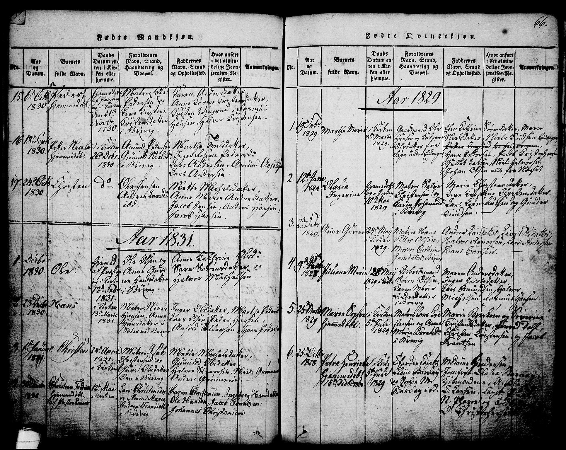SAKO, Brevik kirkebøker, G/Ga/L0001: Klokkerbok nr. 1, 1814-1845, s. 66