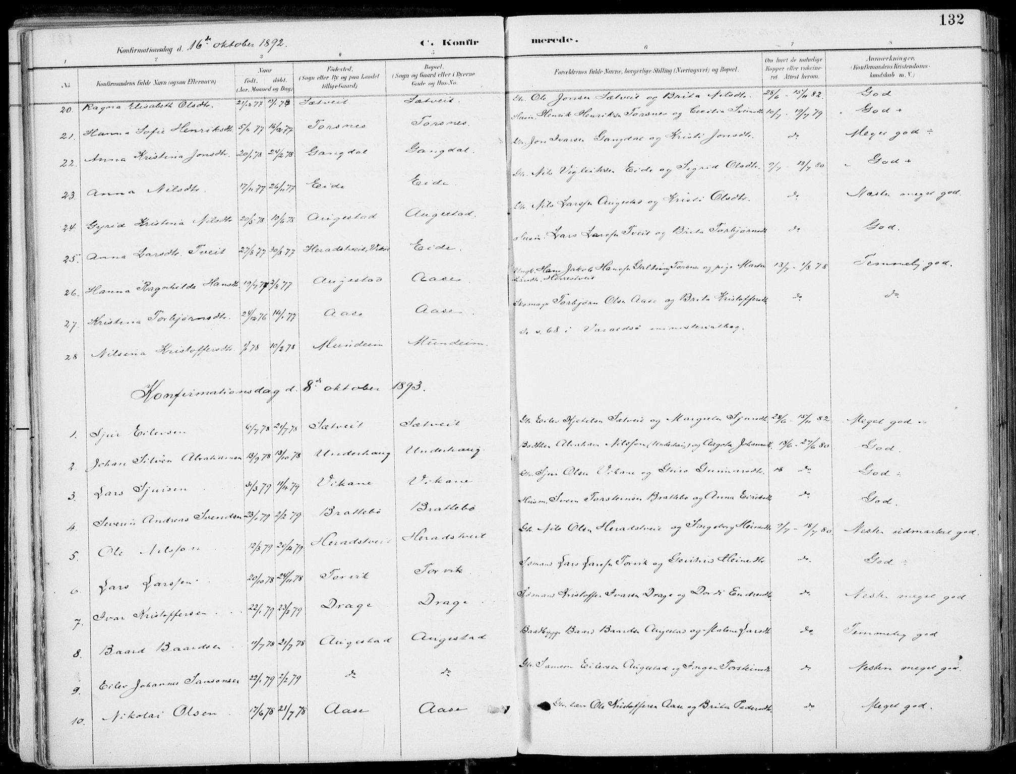 SAB, Strandebarm Sokneprestembete, H/Haa: Ministerialbok nr. E  1, 1886-1908, s. 132
