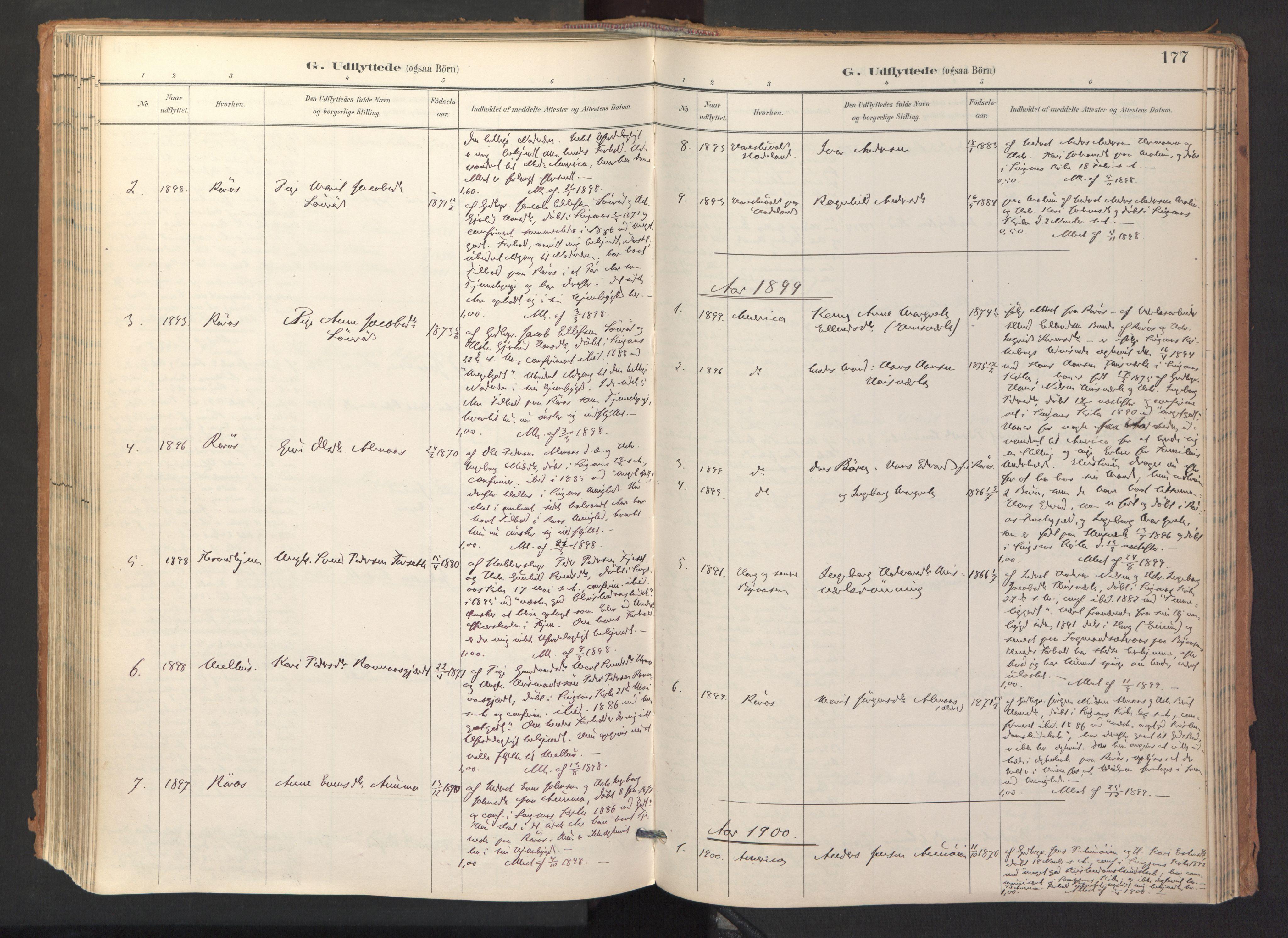 SAT, Ministerialprotokoller, klokkerbøker og fødselsregistre - Sør-Trøndelag, 688/L1025: Ministerialbok nr. 688A02, 1891-1909, s. 177