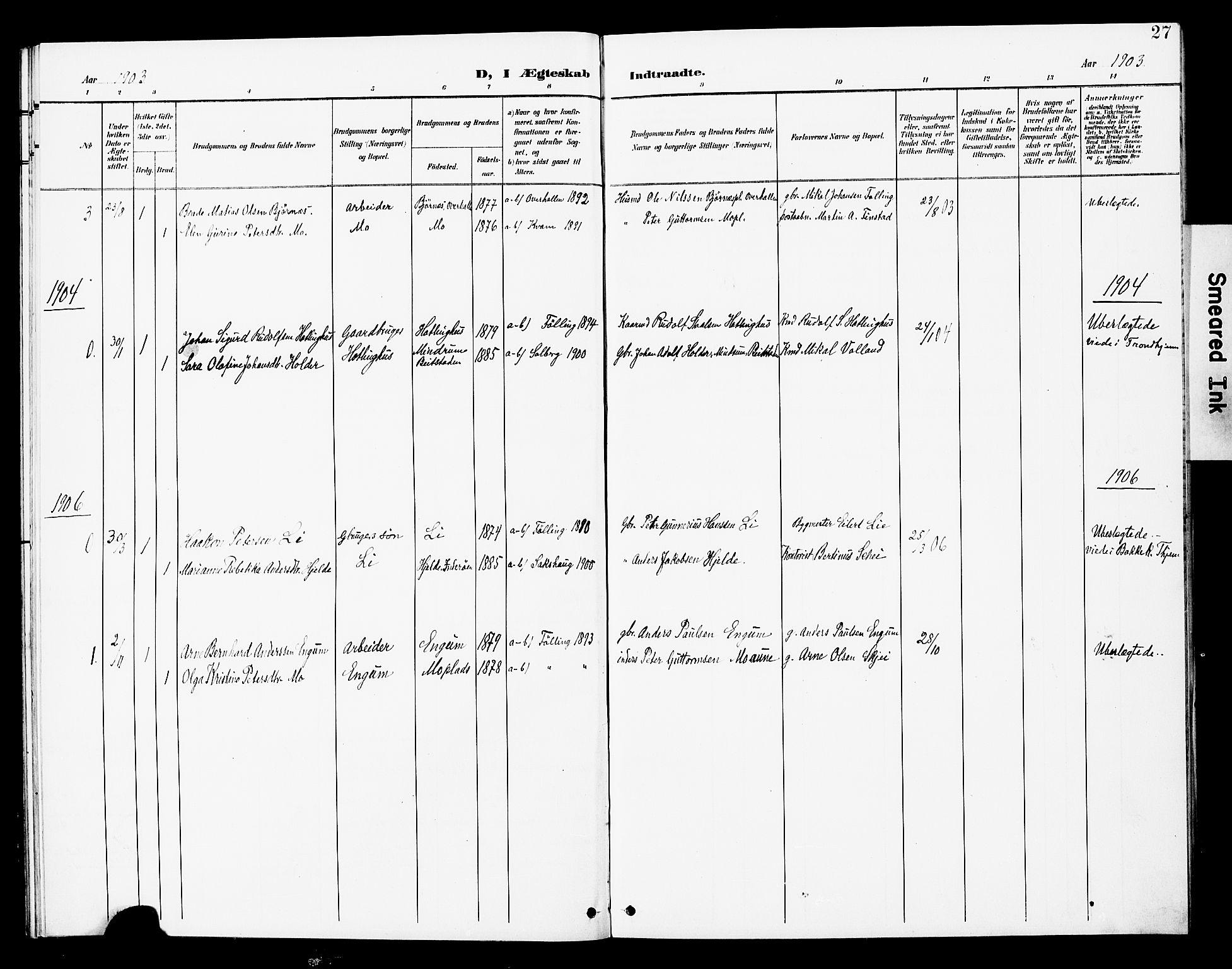 SAT, Ministerialprotokoller, klokkerbøker og fødselsregistre - Nord-Trøndelag, 748/L0464: Ministerialbok nr. 748A01, 1900-1908, s. 27