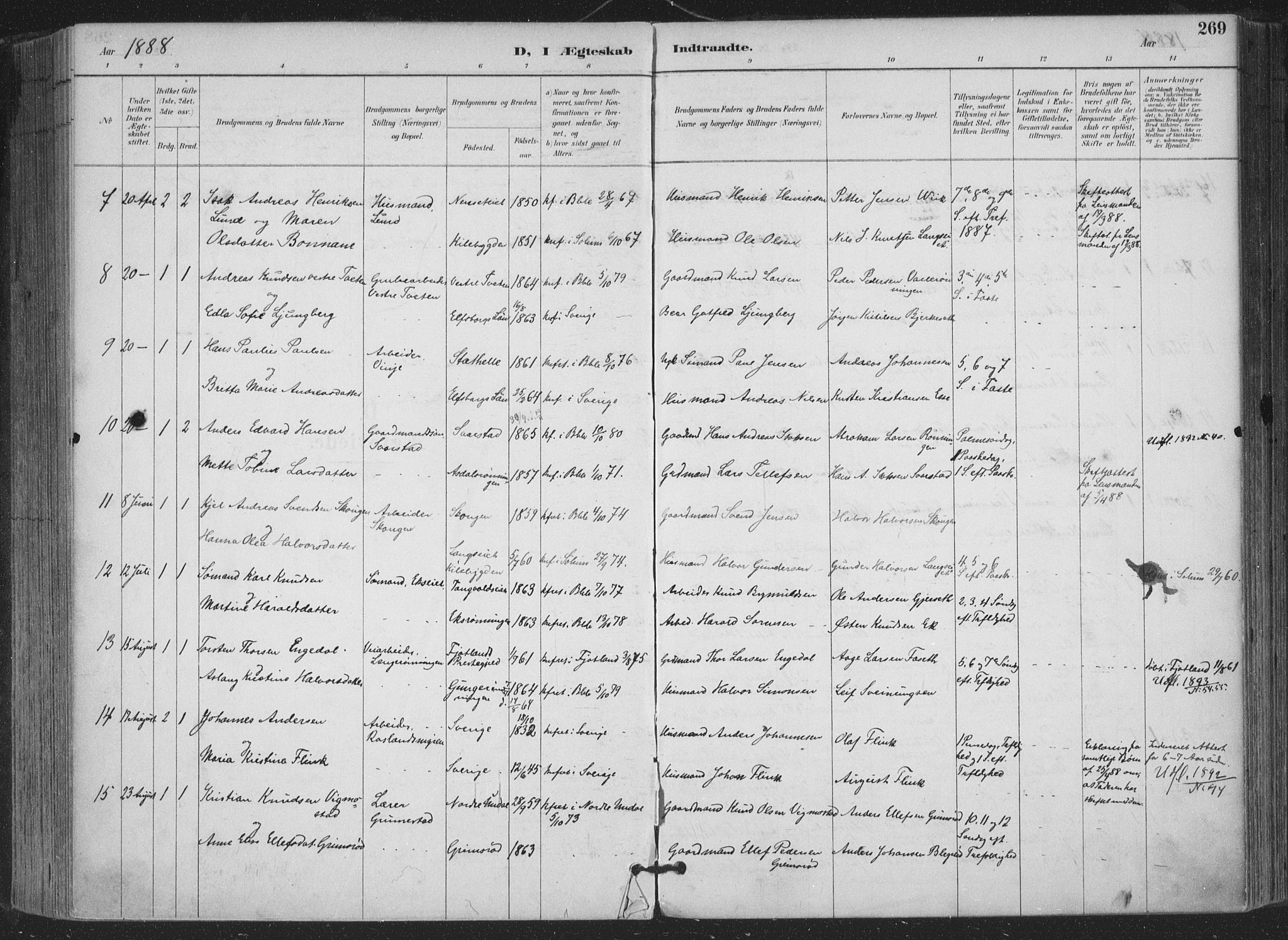 SAKO, Bamble kirkebøker, F/Fa/L0008: Ministerialbok nr. I 8, 1888-1900, s. 269