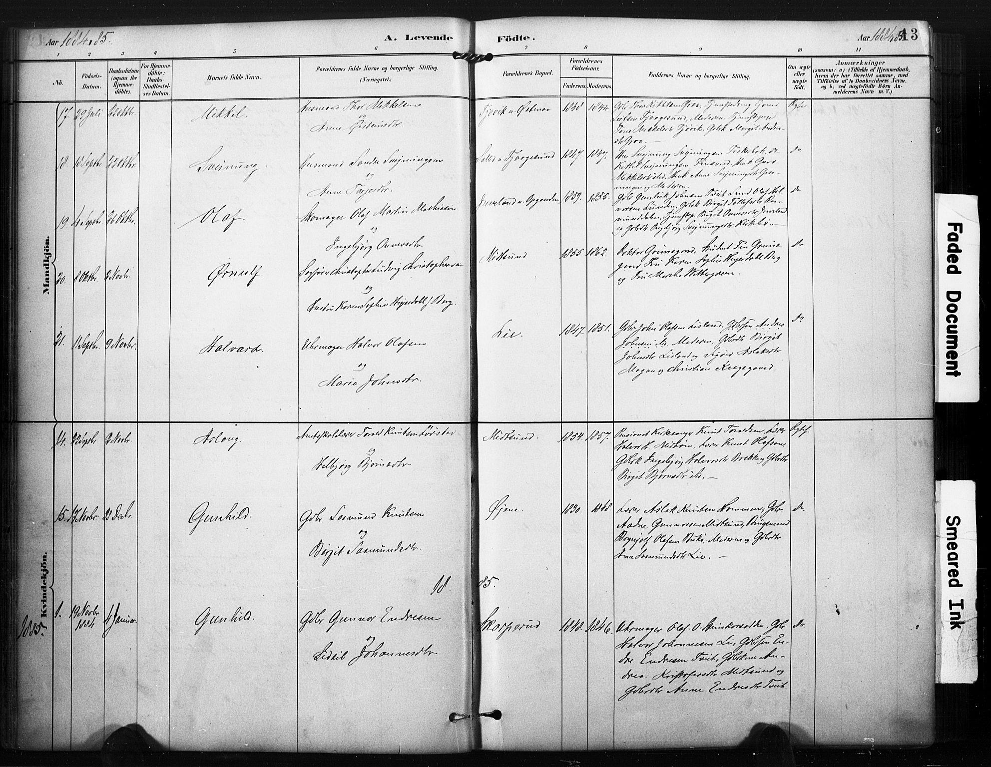 SAKO, Kviteseid kirkebøker, F/Fa/L0008: Ministerialbok nr. I 8, 1882-1903, s. 13