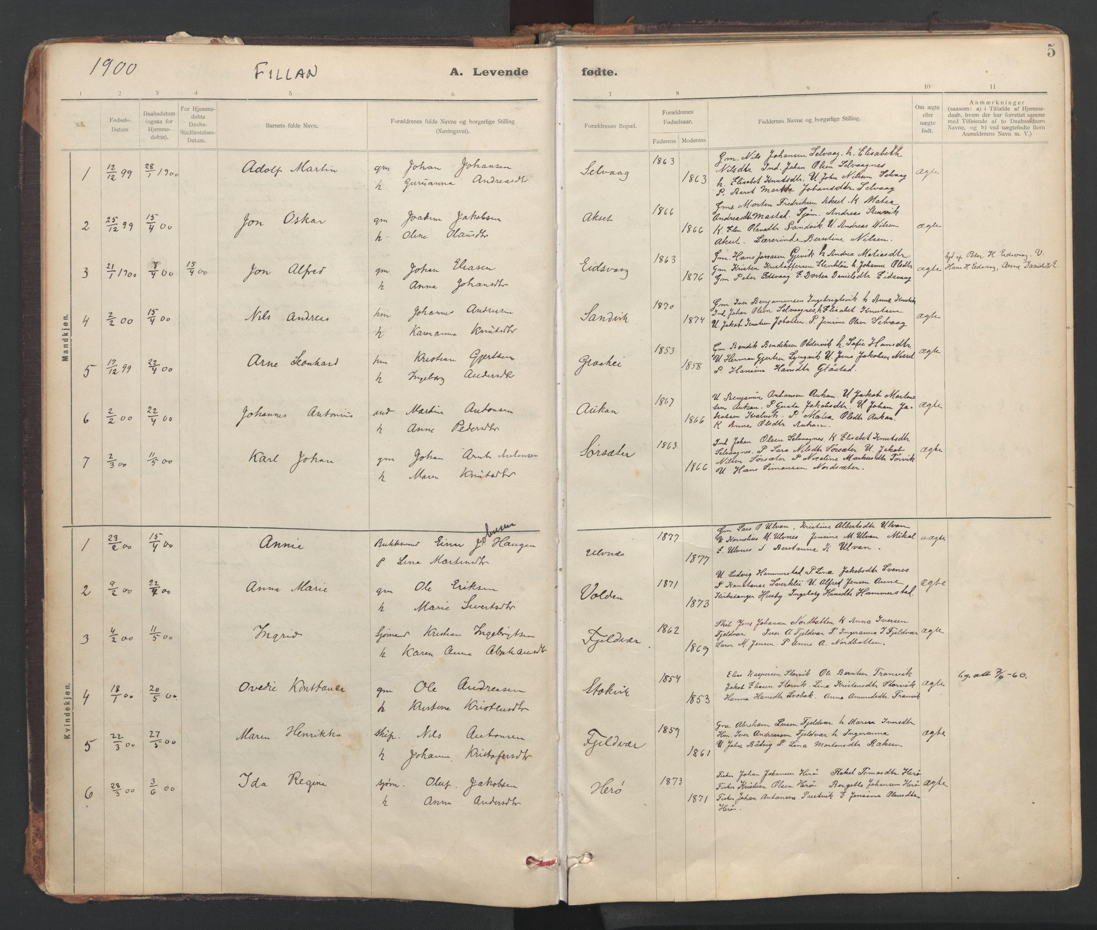 SAT, Ministerialprotokoller, klokkerbøker og fødselsregistre - Sør-Trøndelag, 637/L0559: Ministerialbok nr. 637A02, 1899-1923, s. 5