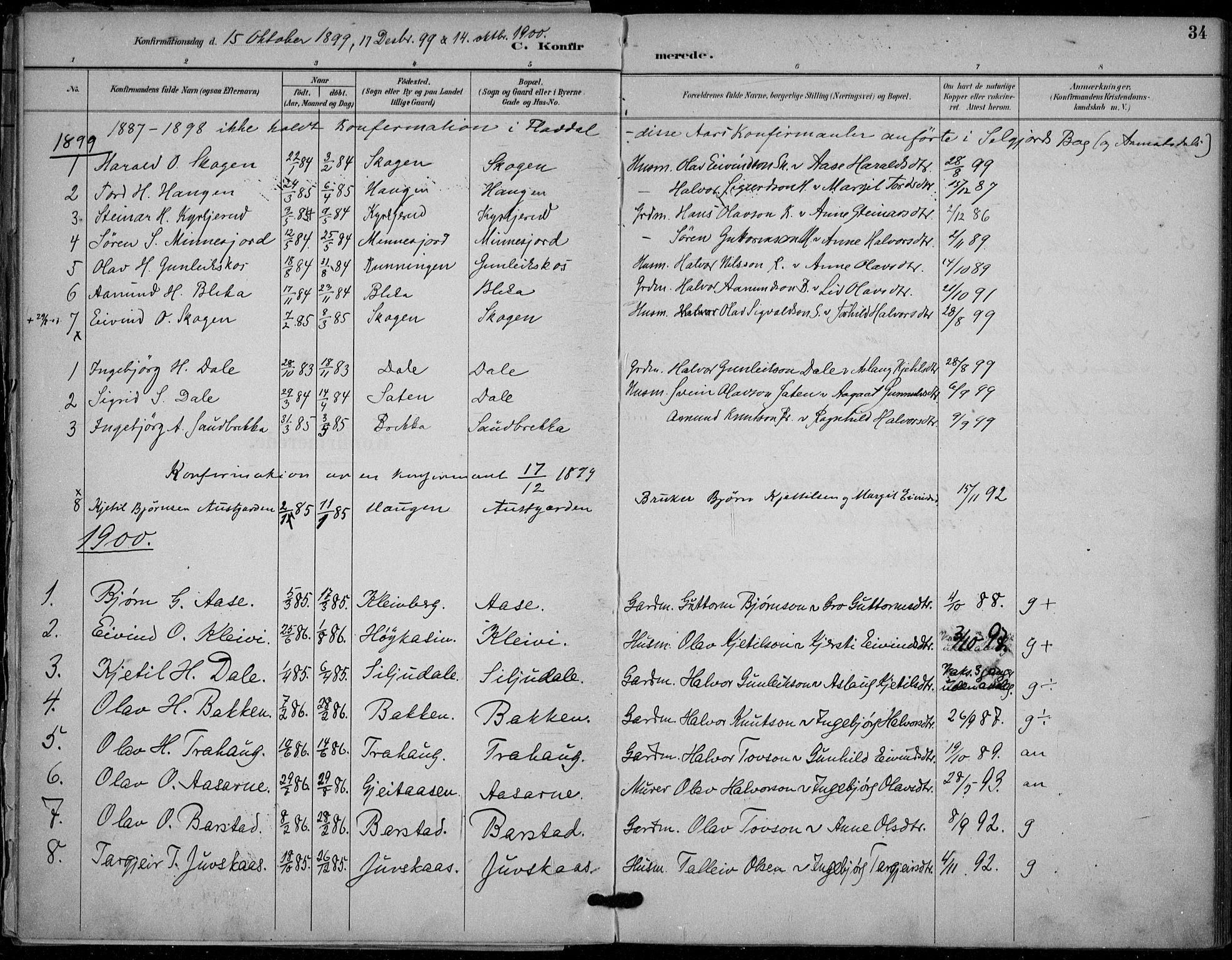 SAKO, Seljord kirkebøker, F/Fb/L0002: Ministerialbok nr. II 2, 1887-1917, s. 34