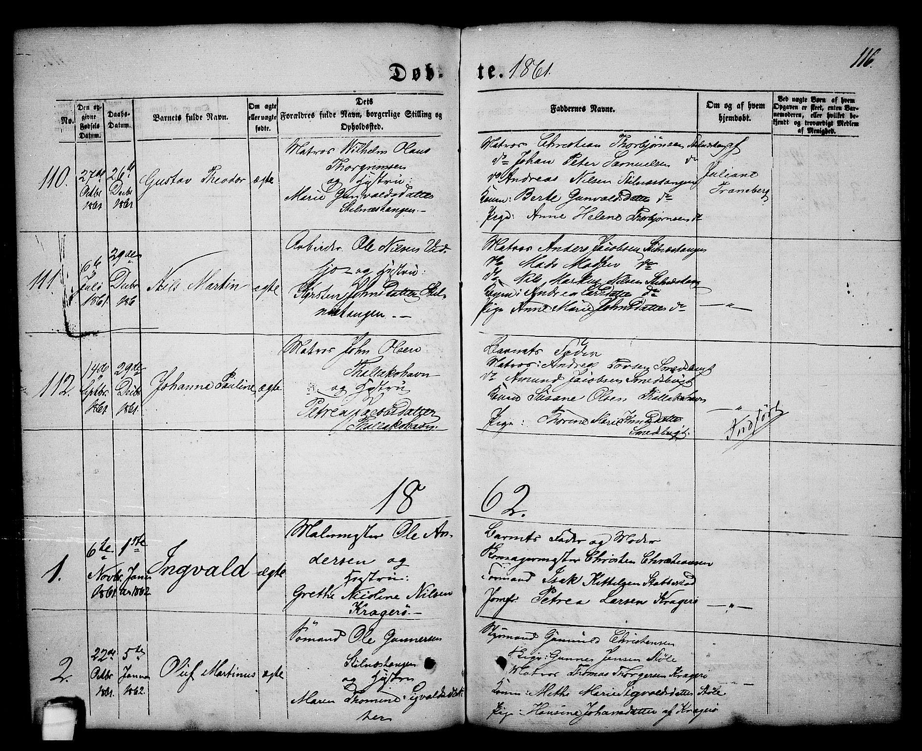 SAKO, Kragerø kirkebøker, G/Ga/L0004: Klokkerbok nr. 4, 1853-1865, s. 116