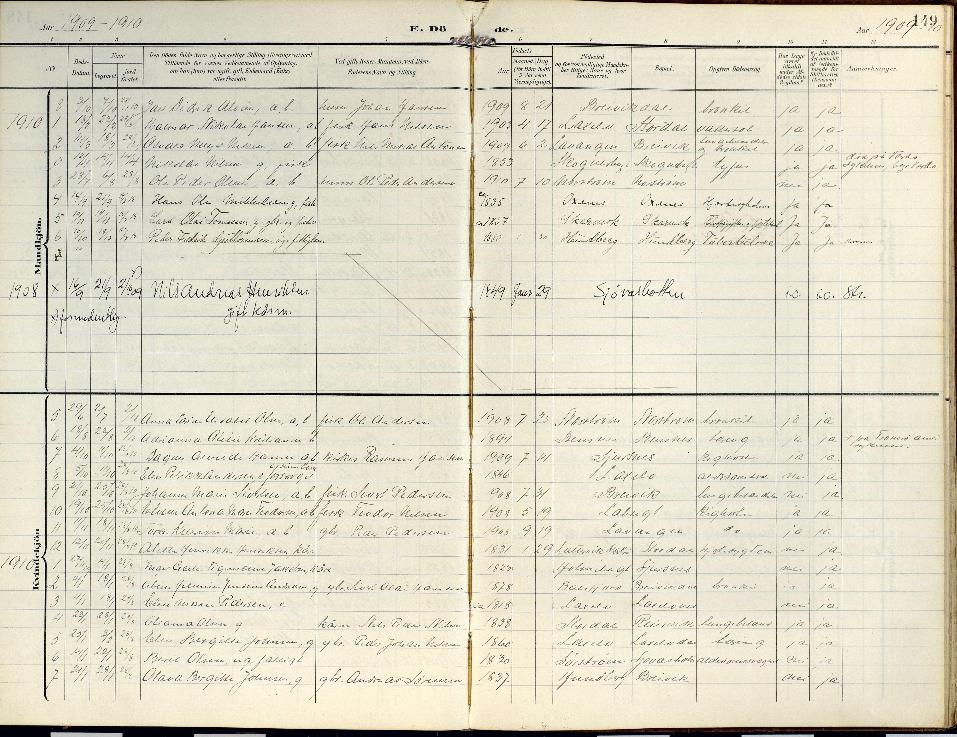 SATØ, Lyngen sokneprestembete, Ministerialbok nr. 14, 1905-1920, s. 149