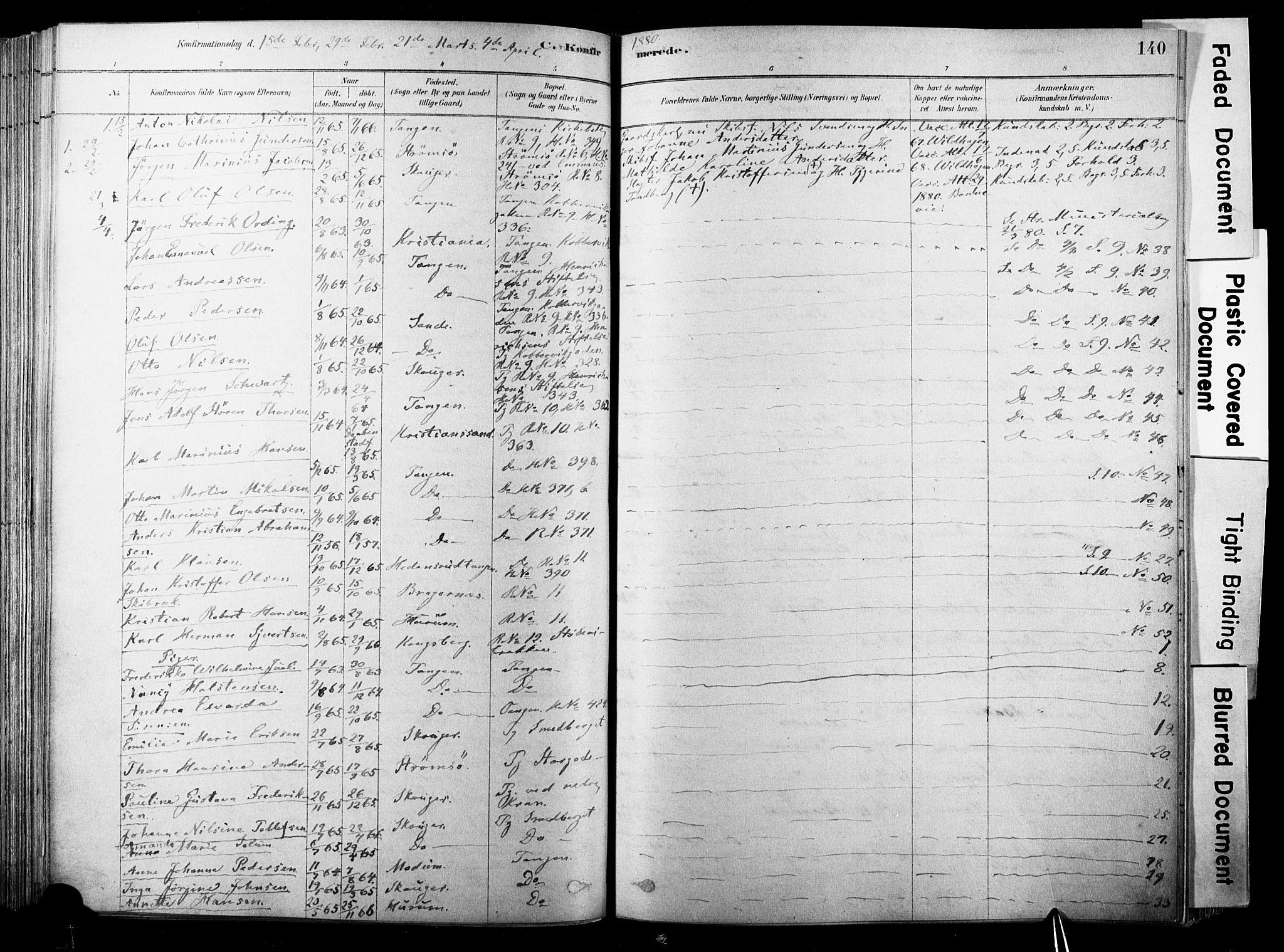SAKO, Strømsø kirkebøker, F/Fb/L0006: Ministerialbok nr. II 6, 1879-1910, s. 140