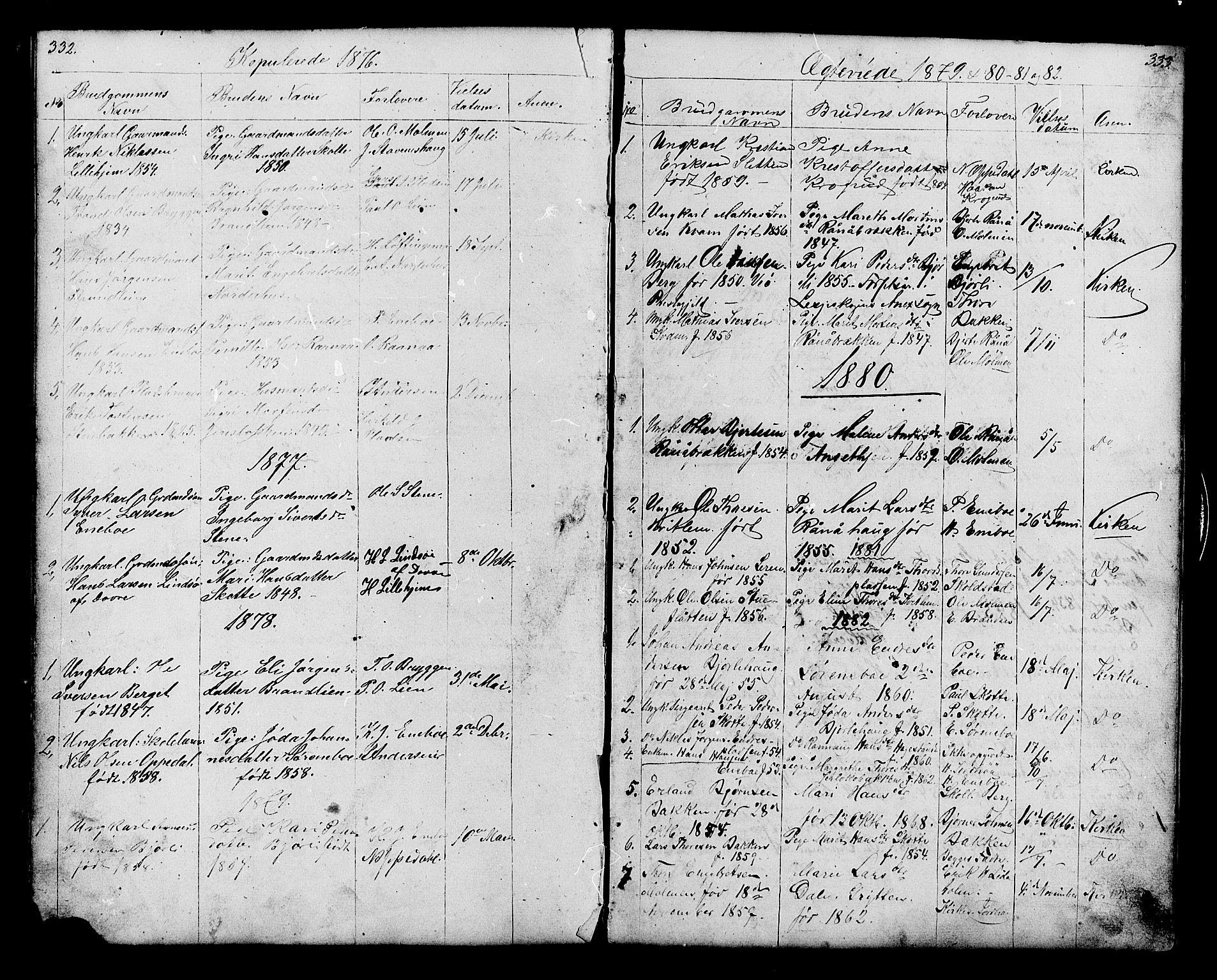 SAH, Lesja prestekontor, Klokkerbok nr. 6, 1871-1904, s. 332-333