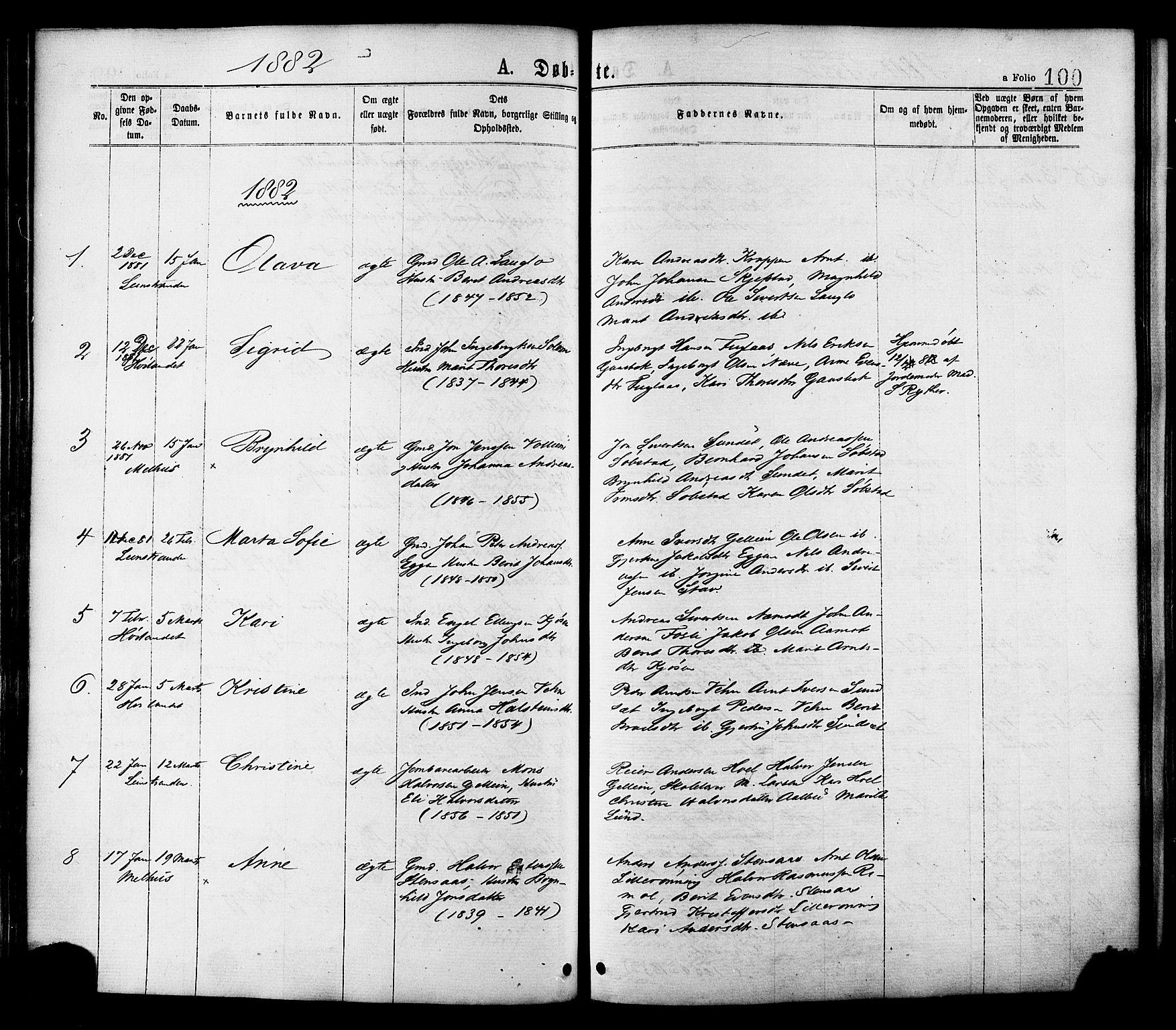 SAT, Ministerialprotokoller, klokkerbøker og fødselsregistre - Sør-Trøndelag, 691/L1079: Ministerialbok nr. 691A11, 1873-1886, s. 100