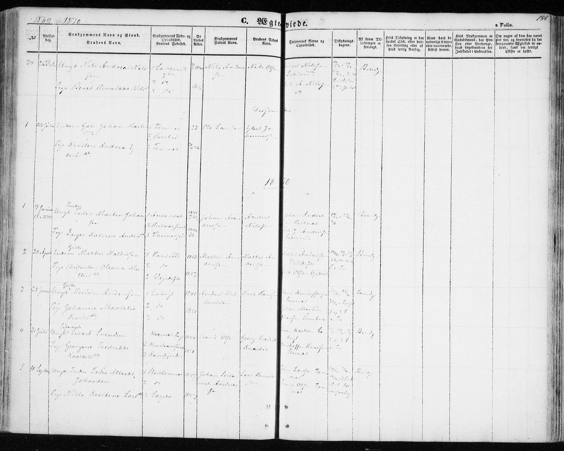 SATØ, Balsfjord sokneprestembete, Ministerialbok nr. 3, 1856-1870, s. 184
