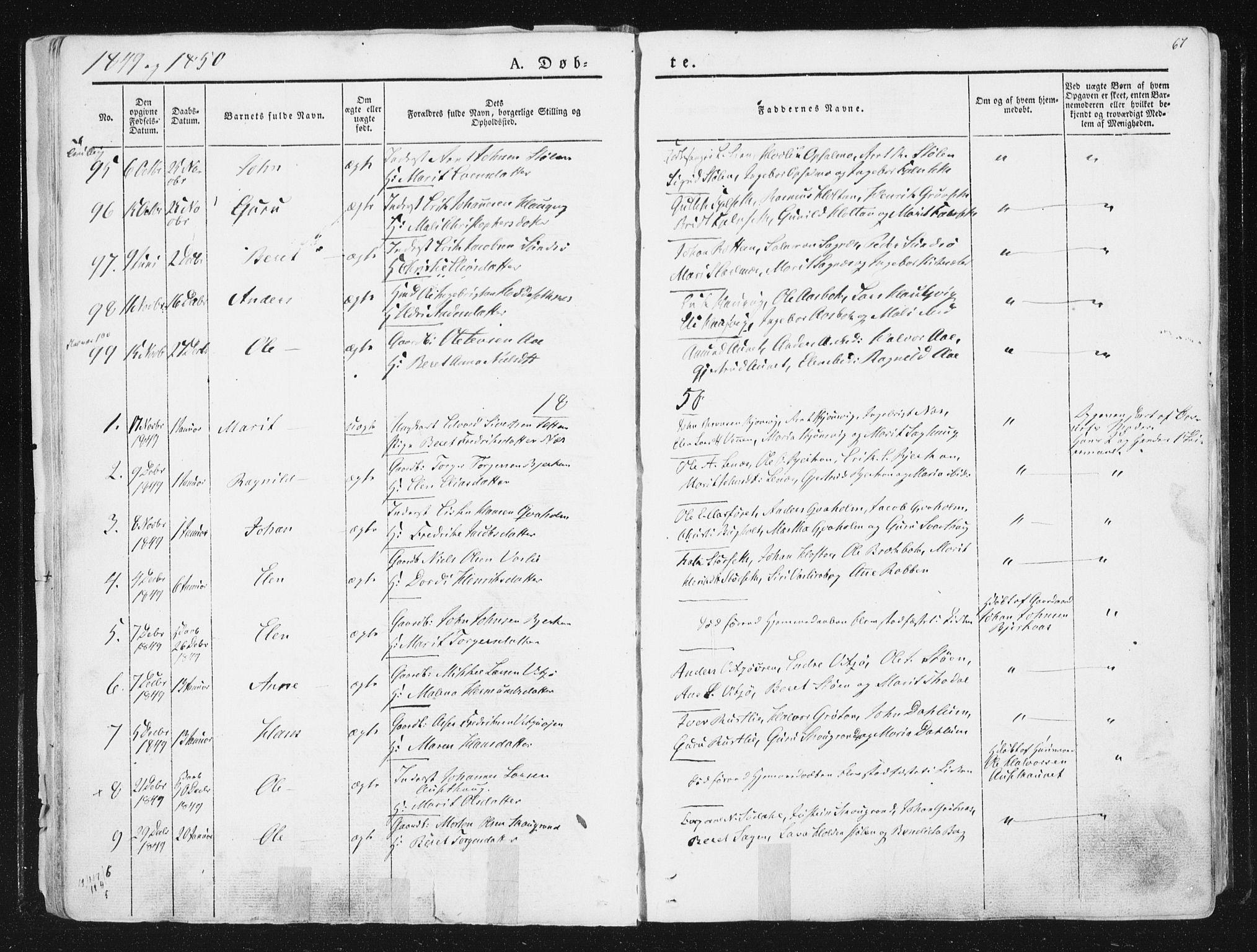SAT, Ministerialprotokoller, klokkerbøker og fødselsregistre - Sør-Trøndelag, 630/L0493: Ministerialbok nr. 630A06, 1841-1851, s. 67