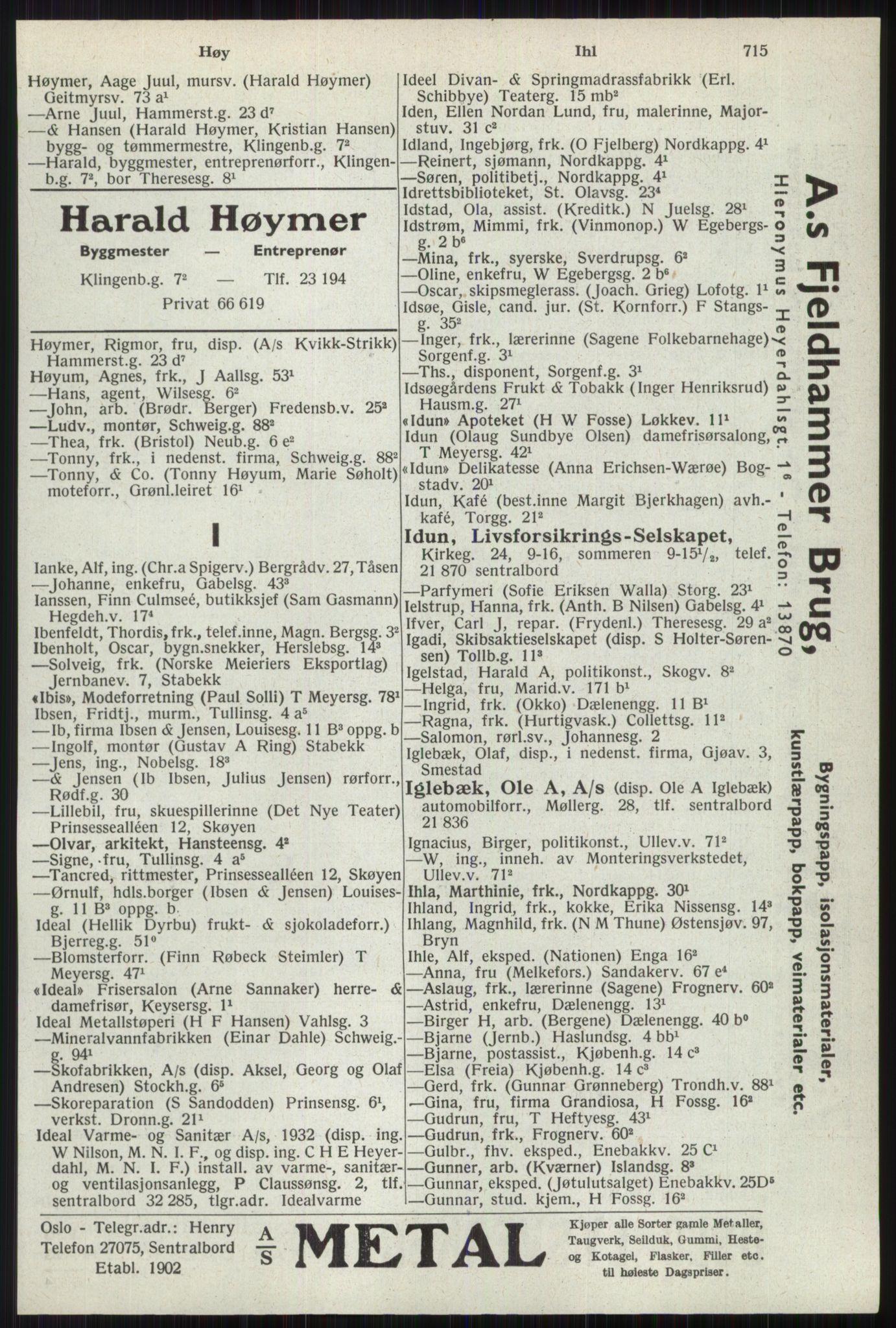 RA, Oslo adressebok (publikasjon)*, 1941, s. 715