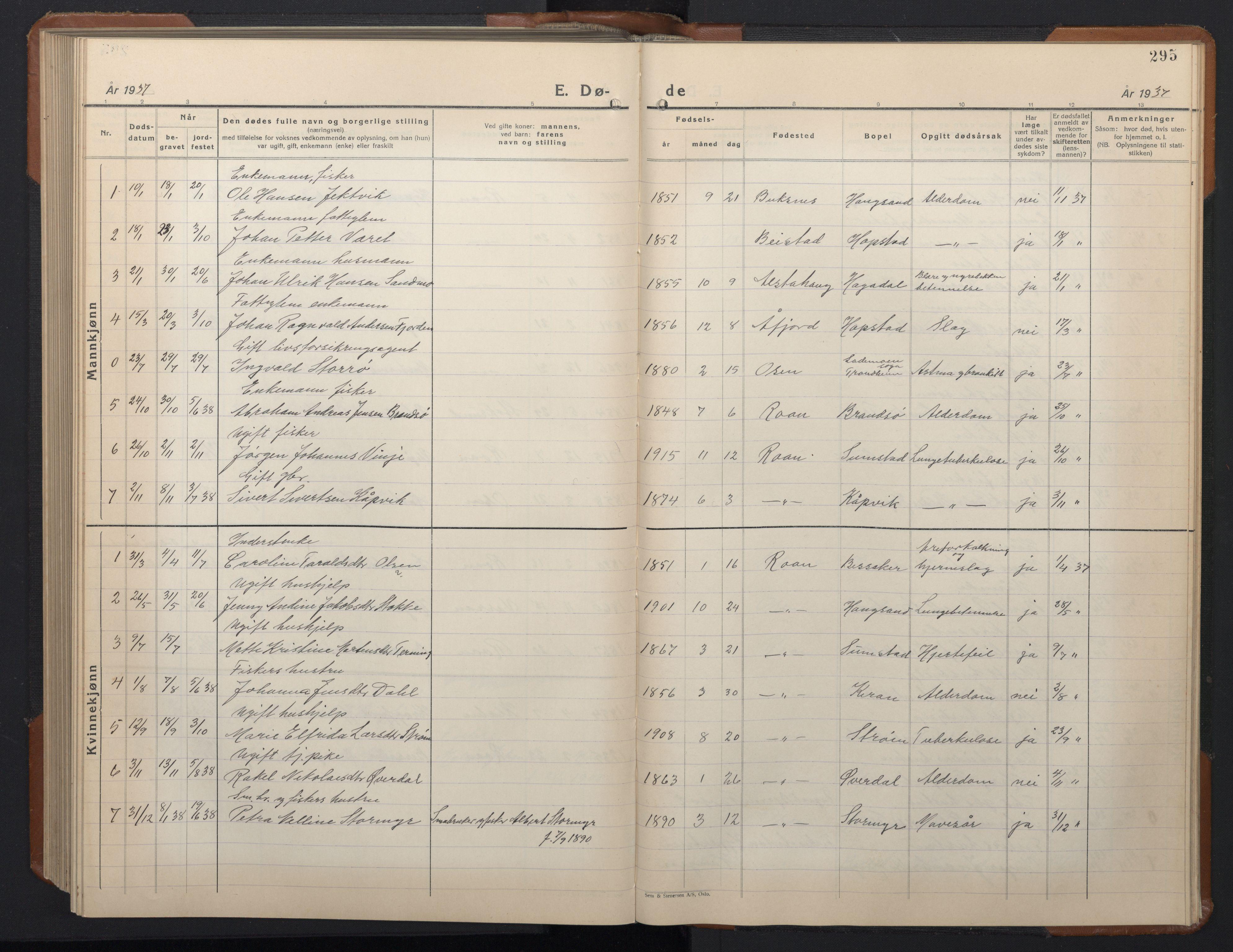 SAT, Ministerialprotokoller, klokkerbøker og fødselsregistre - Sør-Trøndelag, 657/L0718: Klokkerbok nr. 657C05, 1923-1948, s. 295