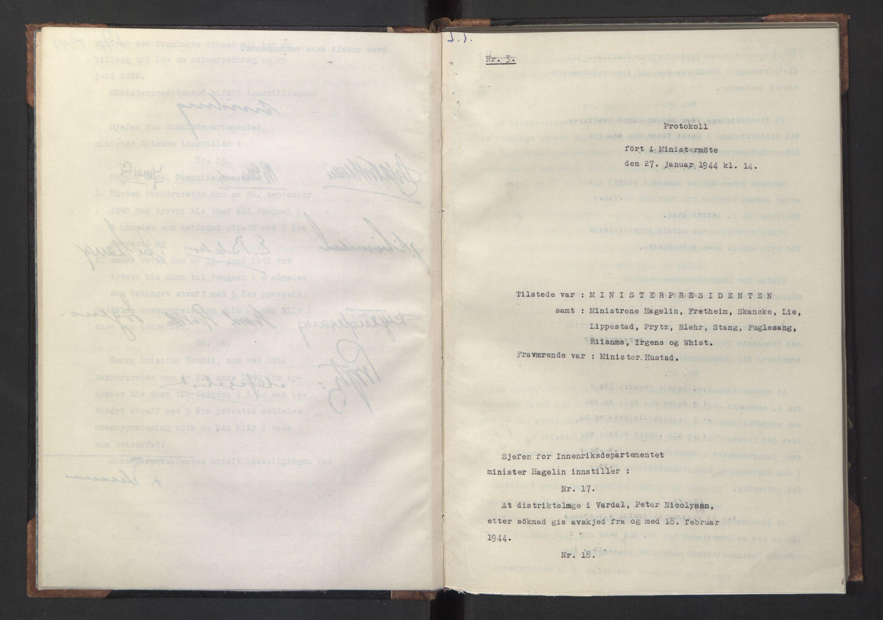 RA, NS-administrasjonen 1940-1945 (Statsrådsekretariatet, de kommisariske statsråder mm), D/Da/L0005: Protokoll fra ministermøter, 1944, s. 5b-6a