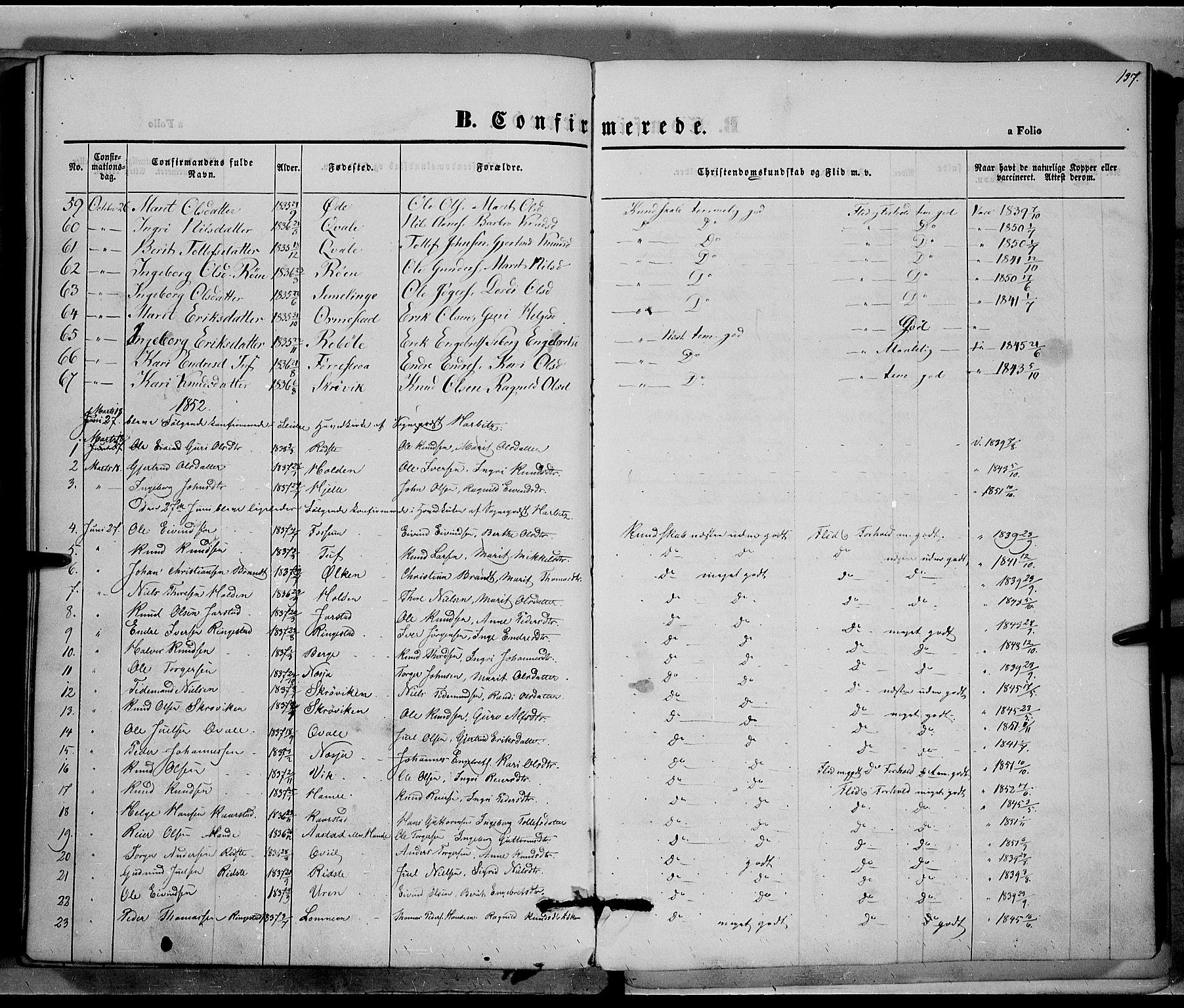 SAH, Vestre Slidre prestekontor, Ministerialbok nr. 1, 1844-1855, s. 137