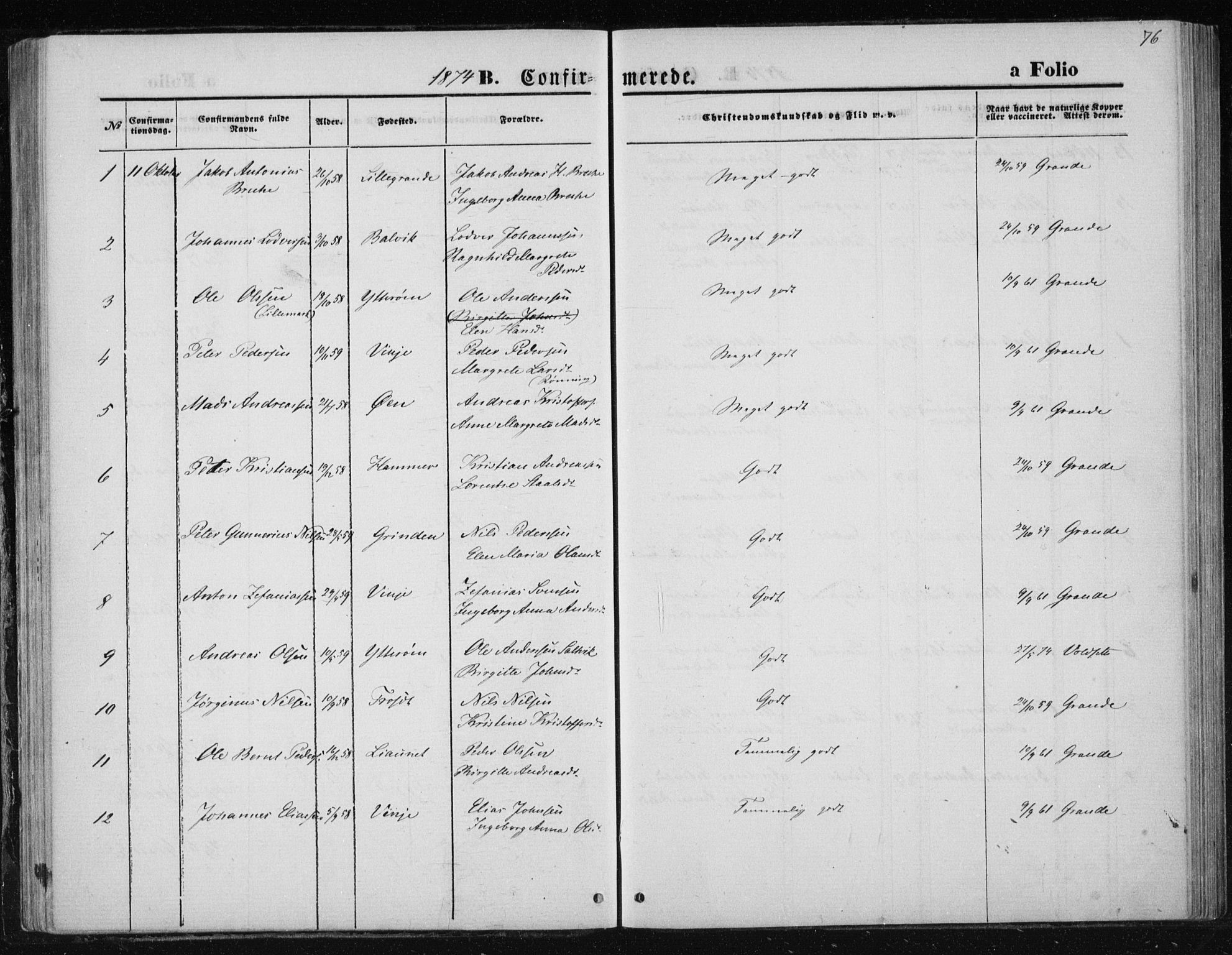 SAT, Ministerialprotokoller, klokkerbøker og fødselsregistre - Nord-Trøndelag, 733/L0324: Ministerialbok nr. 733A03, 1870-1883, s. 76