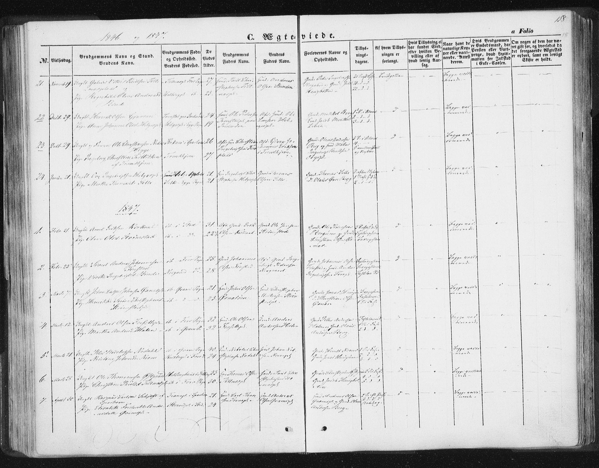 SAT, Ministerialprotokoller, klokkerbøker og fødselsregistre - Nord-Trøndelag, 746/L0446: Ministerialbok nr. 746A05, 1846-1859, s. 158