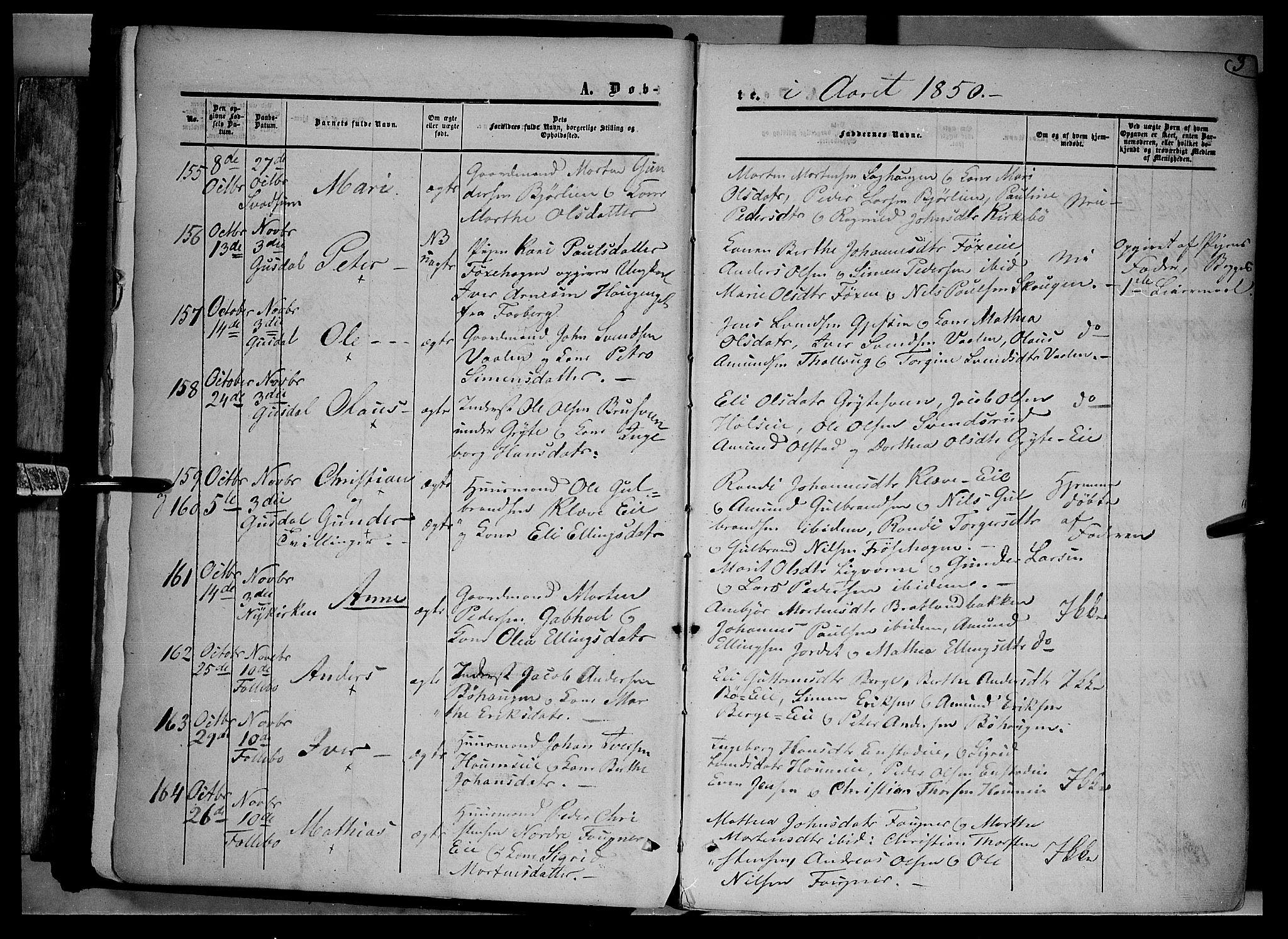 SAH, Gausdal prestekontor, Ministerialbok nr. 8, 1850-1861, s. 3