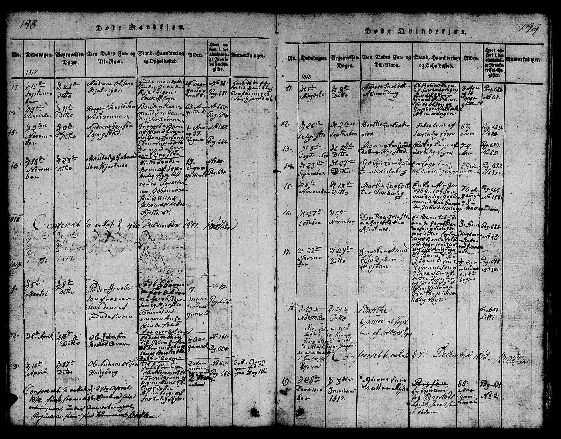 SAT, Ministerialprotokoller, klokkerbøker og fødselsregistre - Nord-Trøndelag, 730/L0298: Klokkerbok nr. 730C01, 1816-1849, s. 198-199