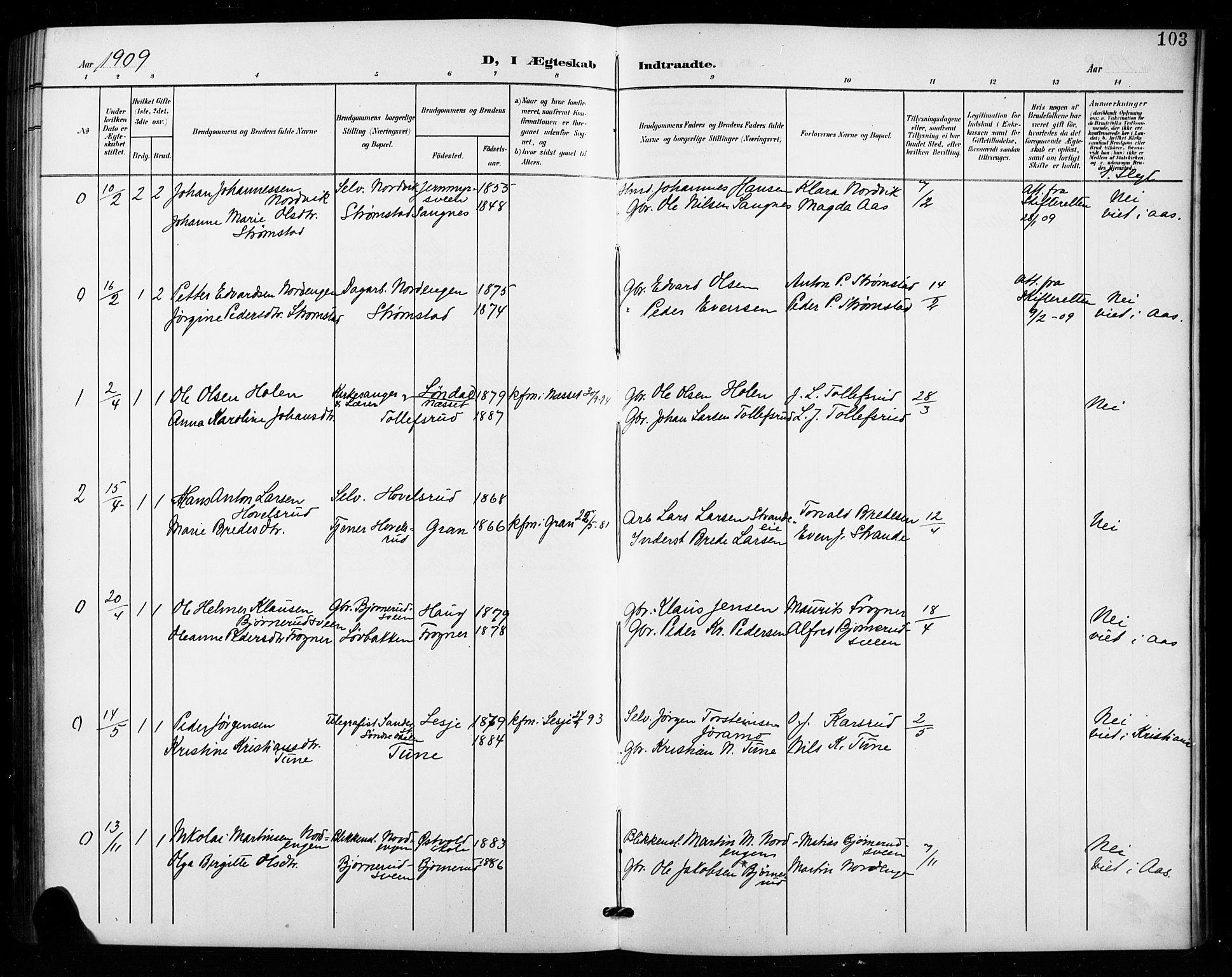 SAH, Vestre Toten prestekontor, H/Ha/Hab/L0016: Klokkerbok nr. 16, 1901-1915, s. 103
