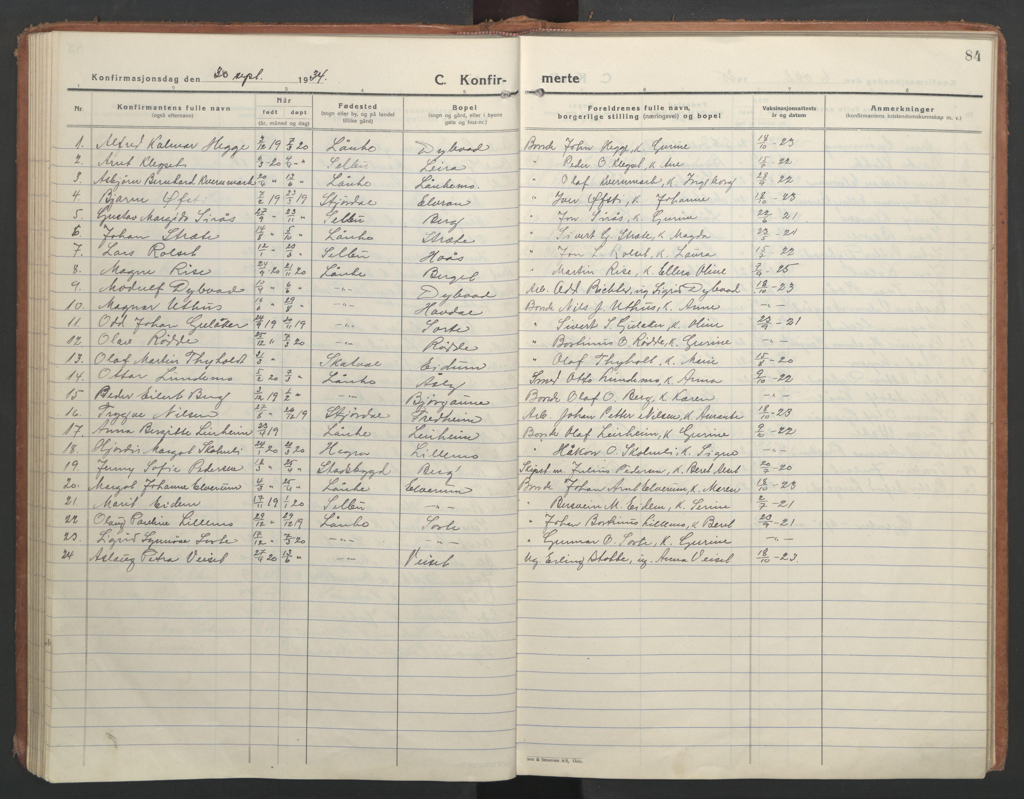 SAT, Ministerialprotokoller, klokkerbøker og fødselsregistre - Nord-Trøndelag, 710/L0097: Klokkerbok nr. 710C02, 1925-1955, s. 84