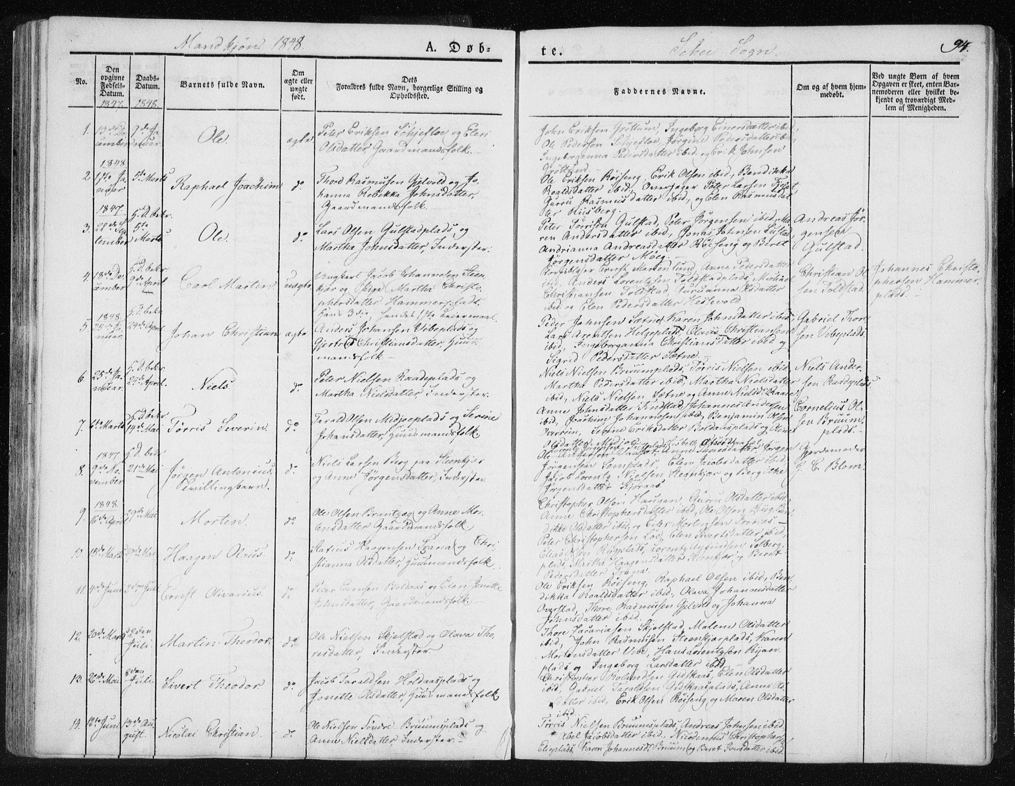 SAT, Ministerialprotokoller, klokkerbøker og fødselsregistre - Nord-Trøndelag, 735/L0339: Ministerialbok nr. 735A06 /2, 1836-1848, s. 94