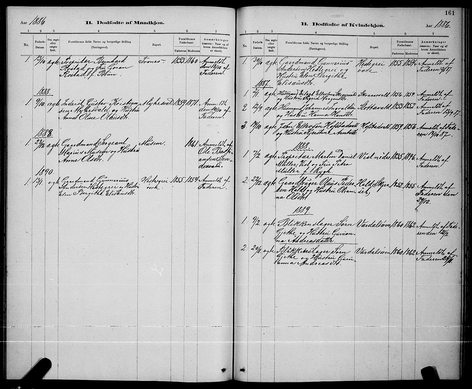 SAT, Ministerialprotokoller, klokkerbøker og fødselsregistre - Nord-Trøndelag, 723/L0256: Klokkerbok nr. 723C04, 1879-1890, s. 161