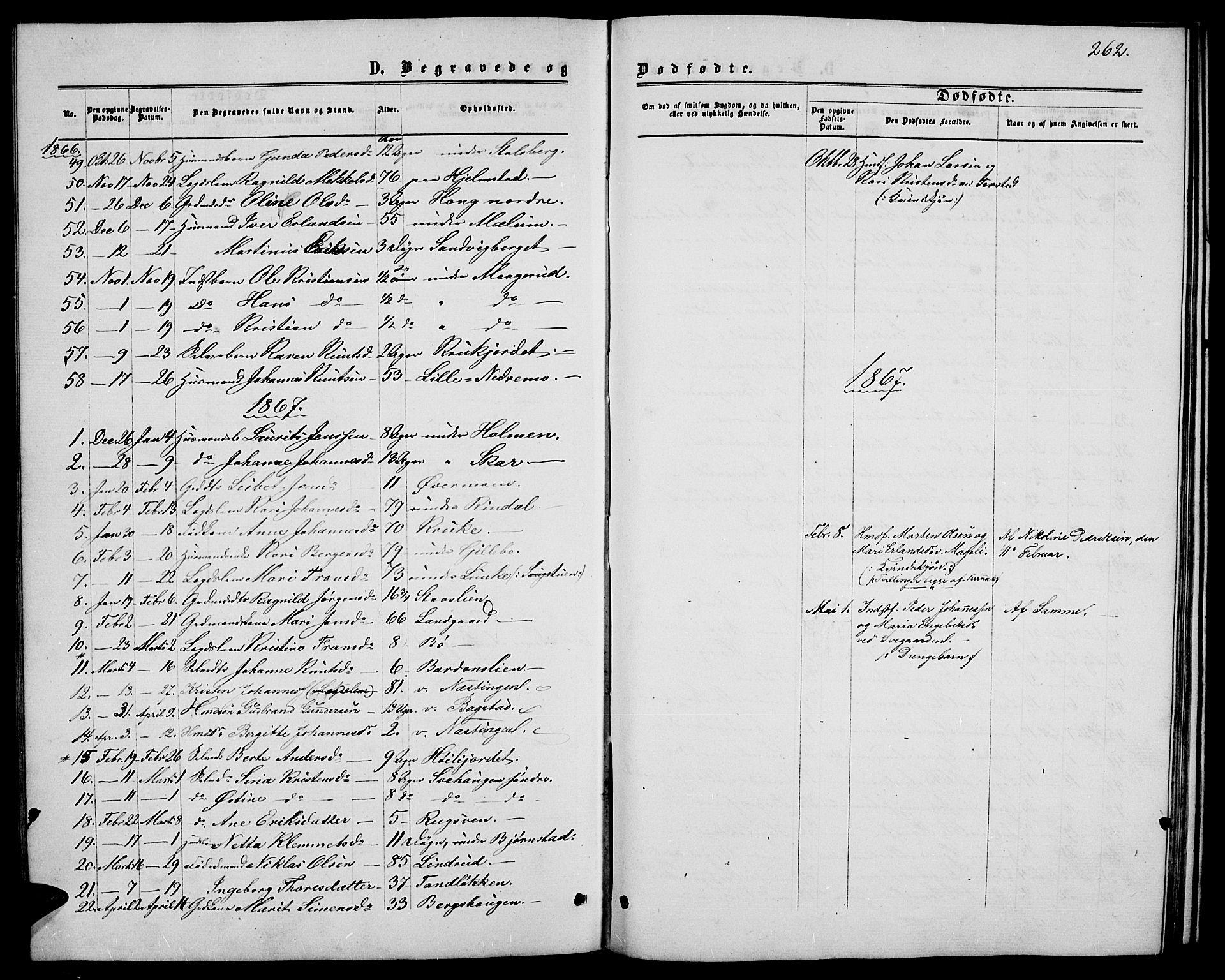 SAH, Øyer prestekontor, Klokkerbok nr. 1, 1863-1877, s. 262