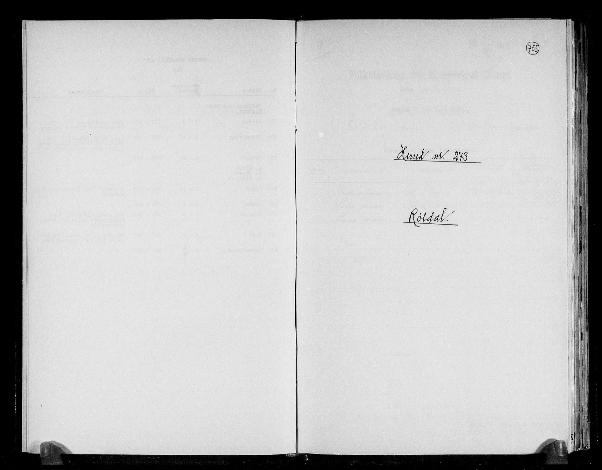 RA, Folketelling 1891 for 1229 Røldal herred, 1891, s. 1