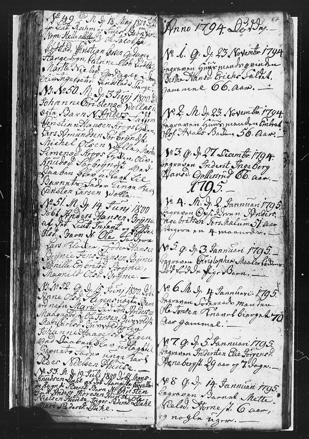 SAH, Romedal prestekontor, L/L0002: Klokkerbok nr. 2, 1795-1800, s. 86-87