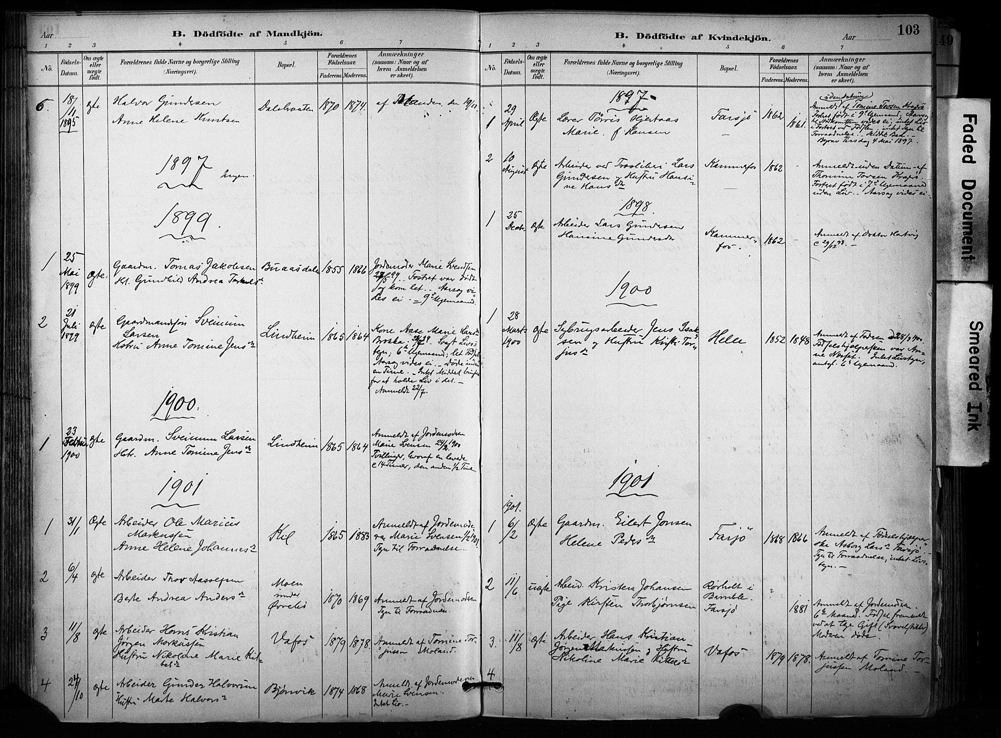 SAKO, Sannidal kirkebøker, F/Fa/L0015: Ministerialbok nr. 15, 1884-1899, s. 103