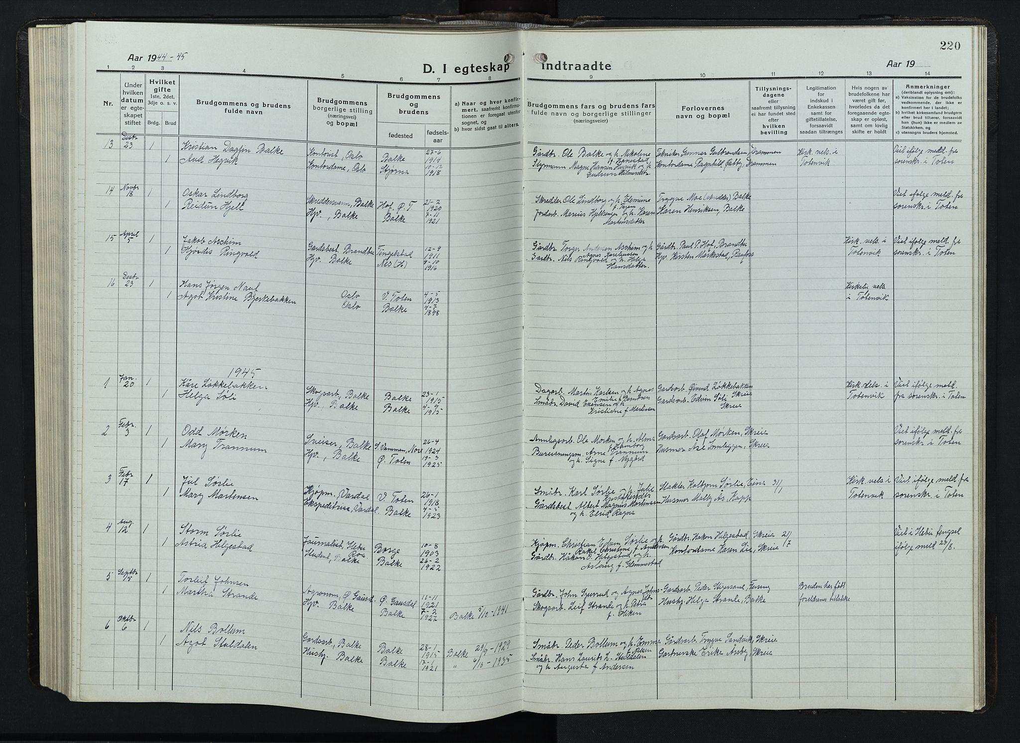 SAH, Balke prestekontor, Klokkerbok nr. 1, 1920-1955, s. 220