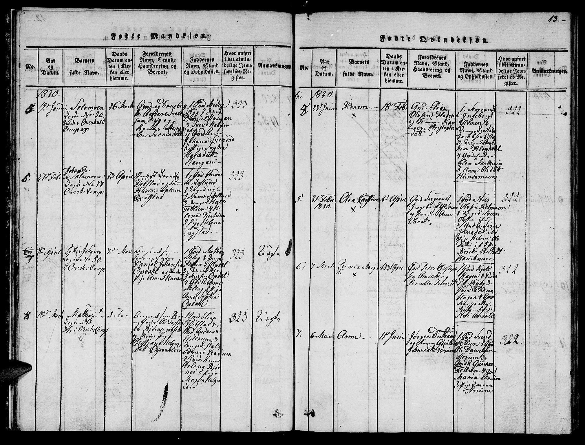SAT, Ministerialprotokoller, klokkerbøker og fødselsregistre - Nord-Trøndelag, 764/L0559: Klokkerbok nr. 764C01, 1816-1824, s. 13