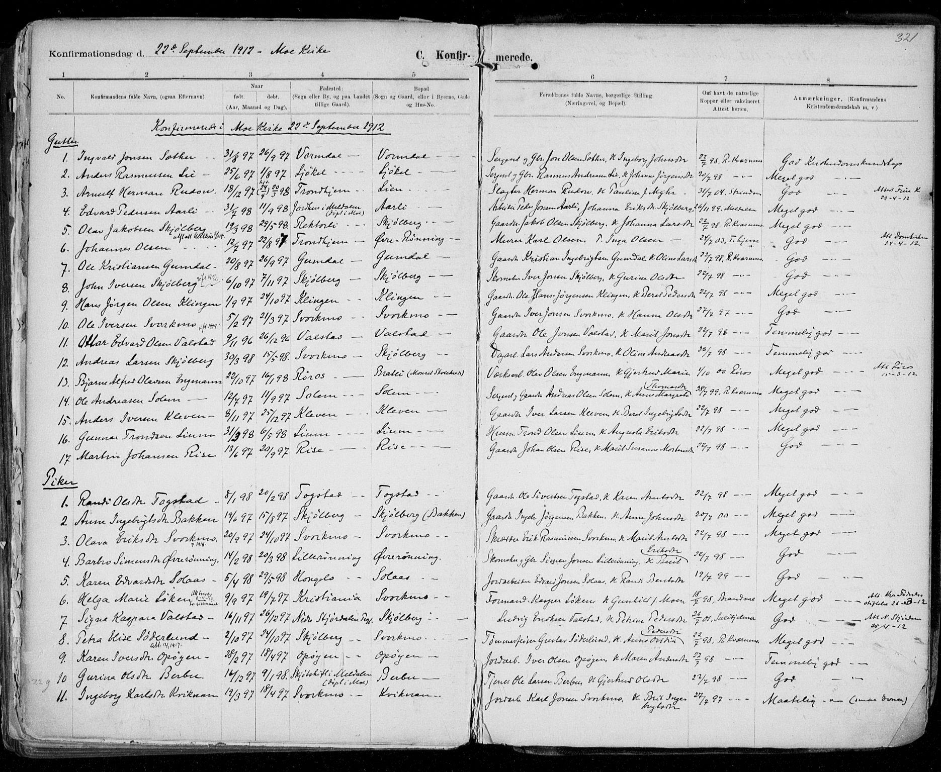SAT, Ministerialprotokoller, klokkerbøker og fødselsregistre - Sør-Trøndelag, 668/L0811: Ministerialbok nr. 668A11, 1894-1913, s. 321