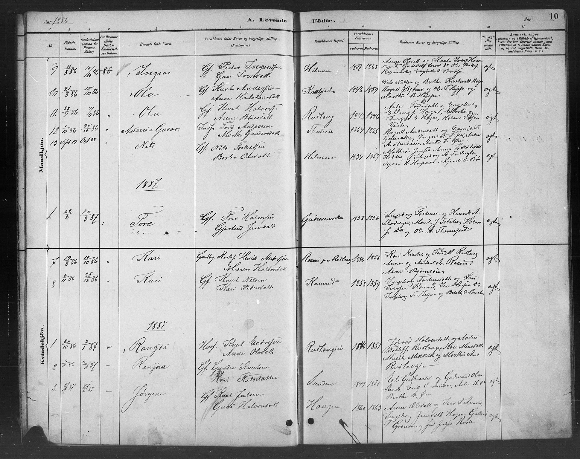 SAH, Nord-Aurdal prestekontor, Klokkerbok nr. 8, 1883-1916, s. 10