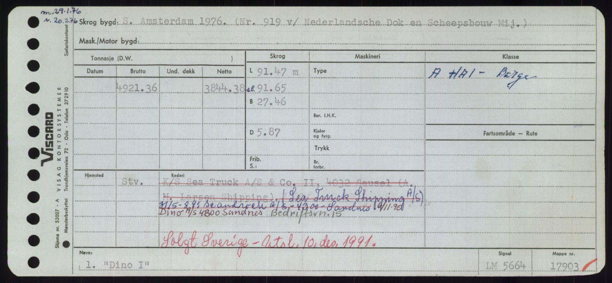 RA, Sjøfartsdirektoratet med forløpere, Skipsmålingen, H/Hd/L0008: Fartøy, C-D, s. 495